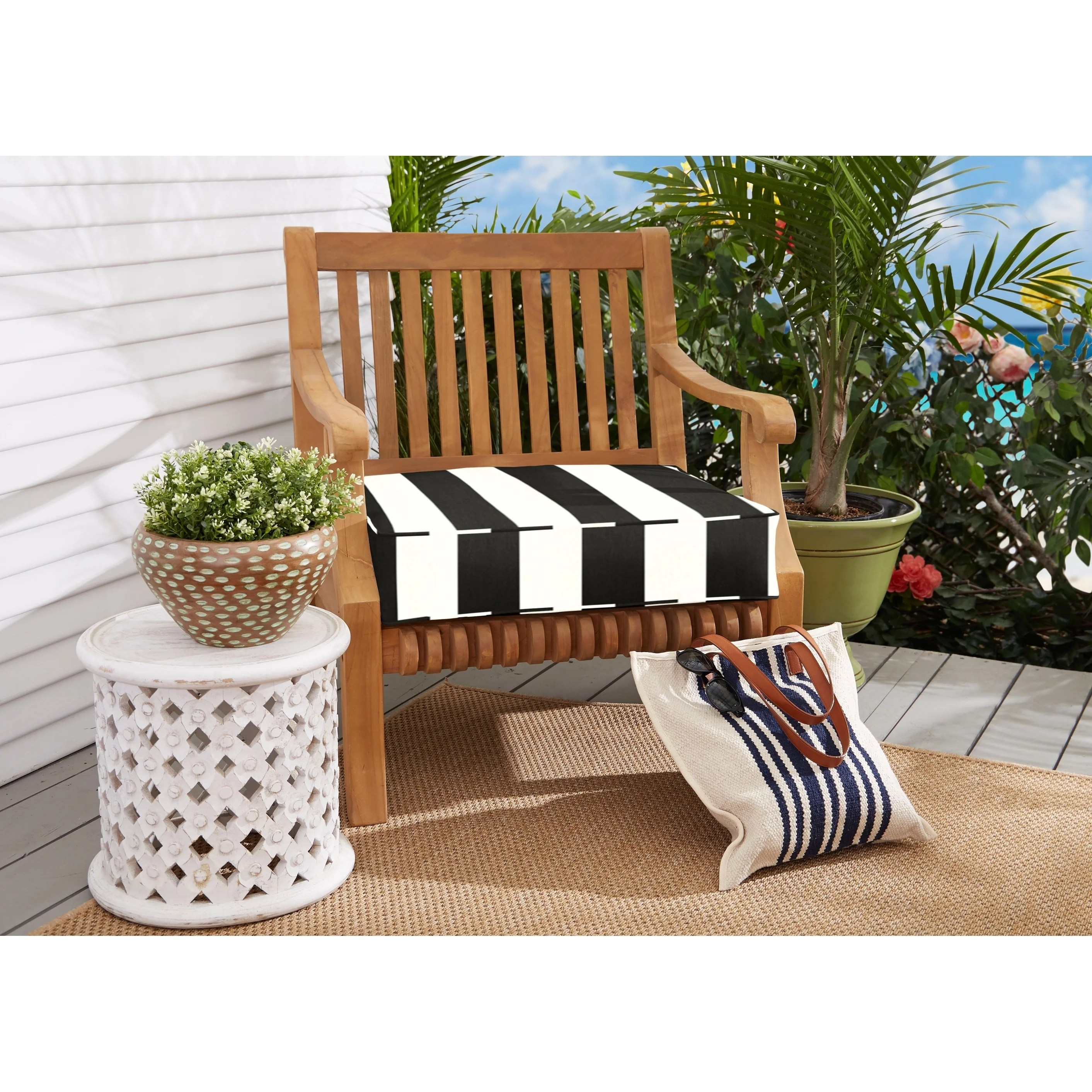 sunbrella black white stripes outdoor deep seating cushion by havenside home