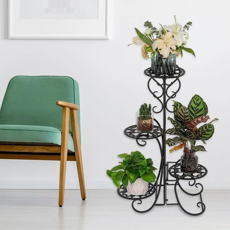 Shop Outdoor Garden Metal Plant Stand Shelf Holds Decoration 4 Flower Pot On Sale Overstock 29033638