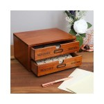 Shop Small Wood Desktop Organizer Storage Box With Drawers French Design 2 Drawers Overstock 29050614