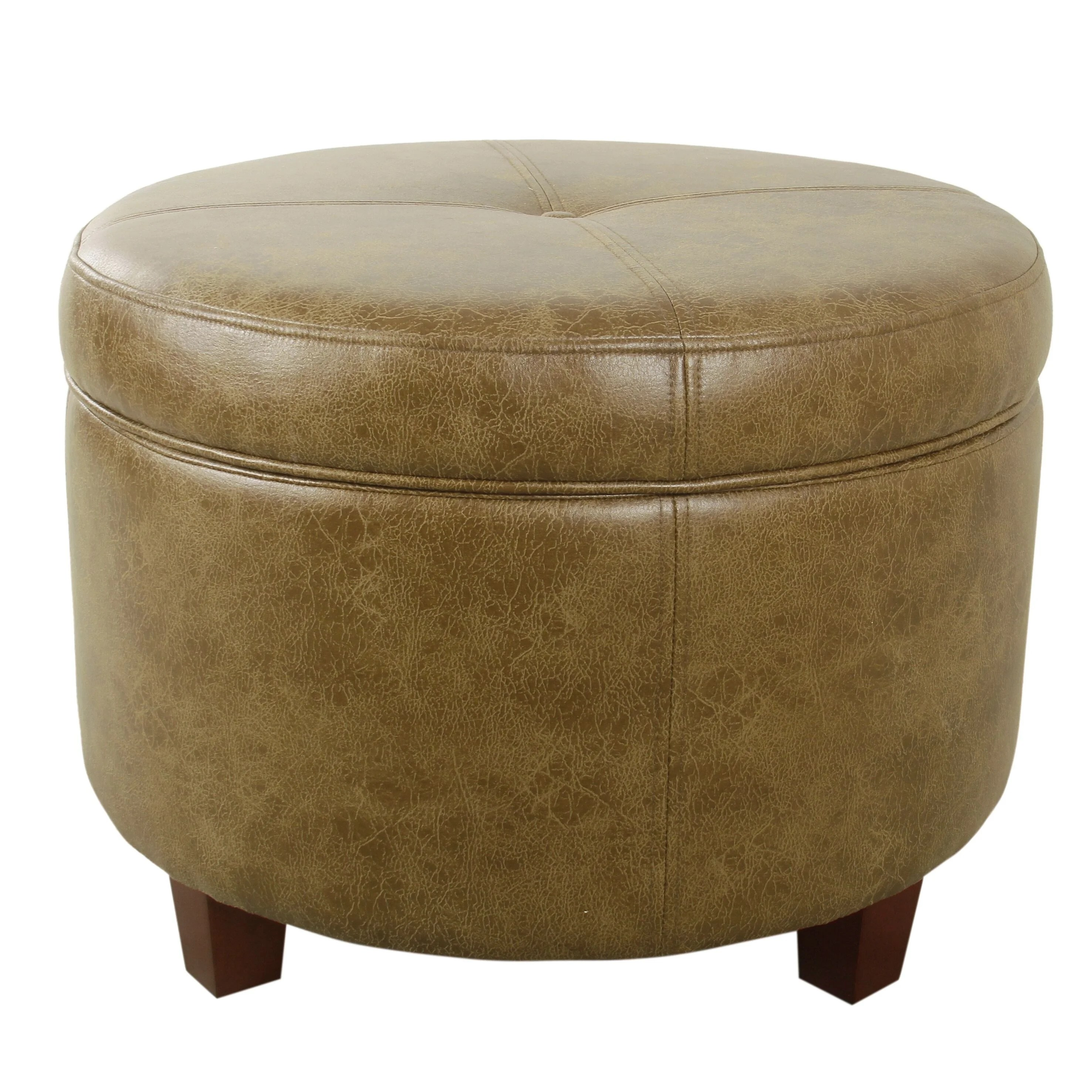 homepop large leatherette storage ottoman distressed brown faux leather