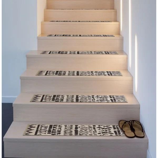 Shop Bohemian Design Geometric Non Slip Stair Treads On Sale   Non Slip Stair Runners   Mat   Beige   Wooden Steps   Treads Carpet   Bullnose Carpet