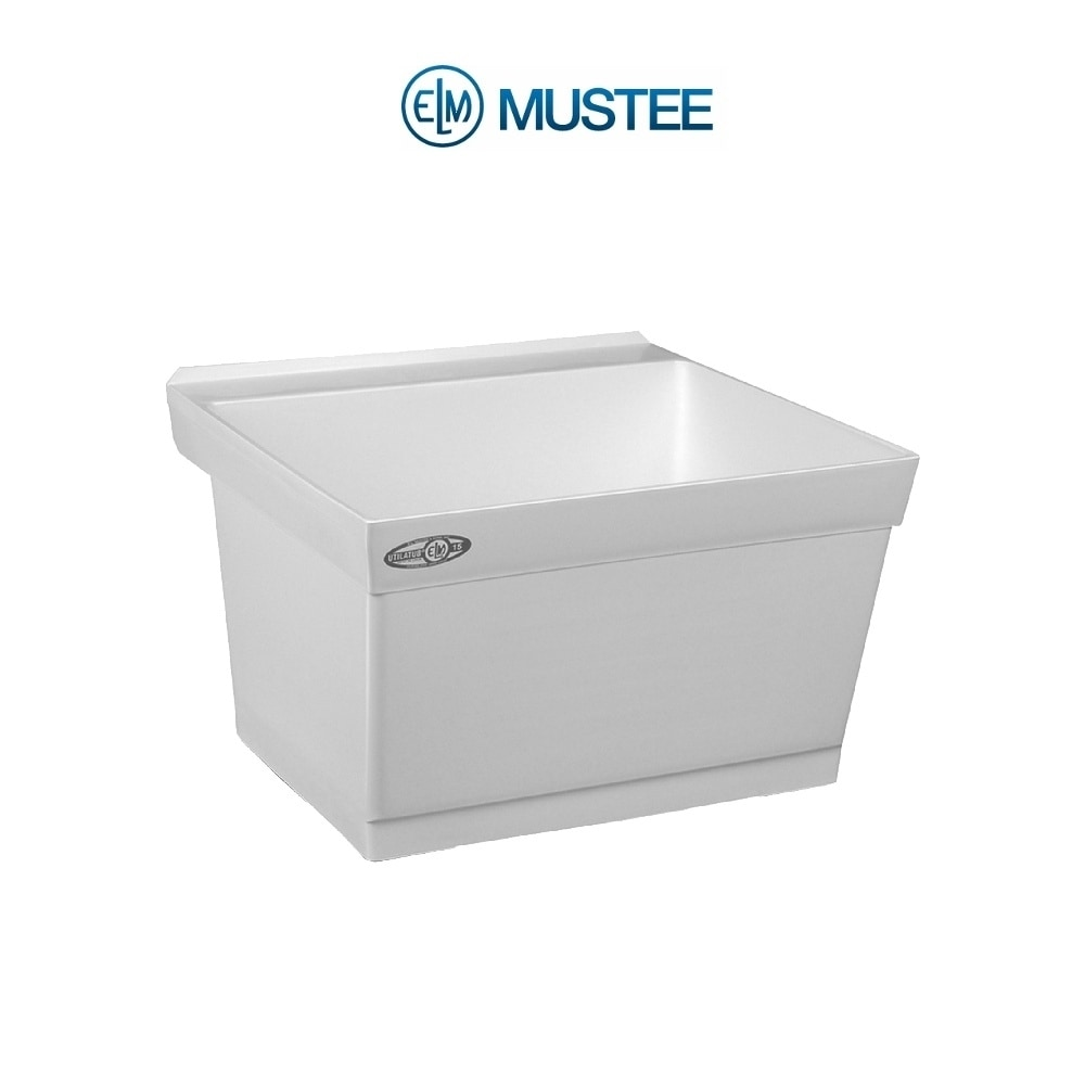 mustee 23 in x 23 5 in 1 basin white wall mount composite tub utility sink with drain