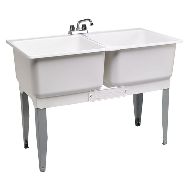 double laundry tub 46 in white
