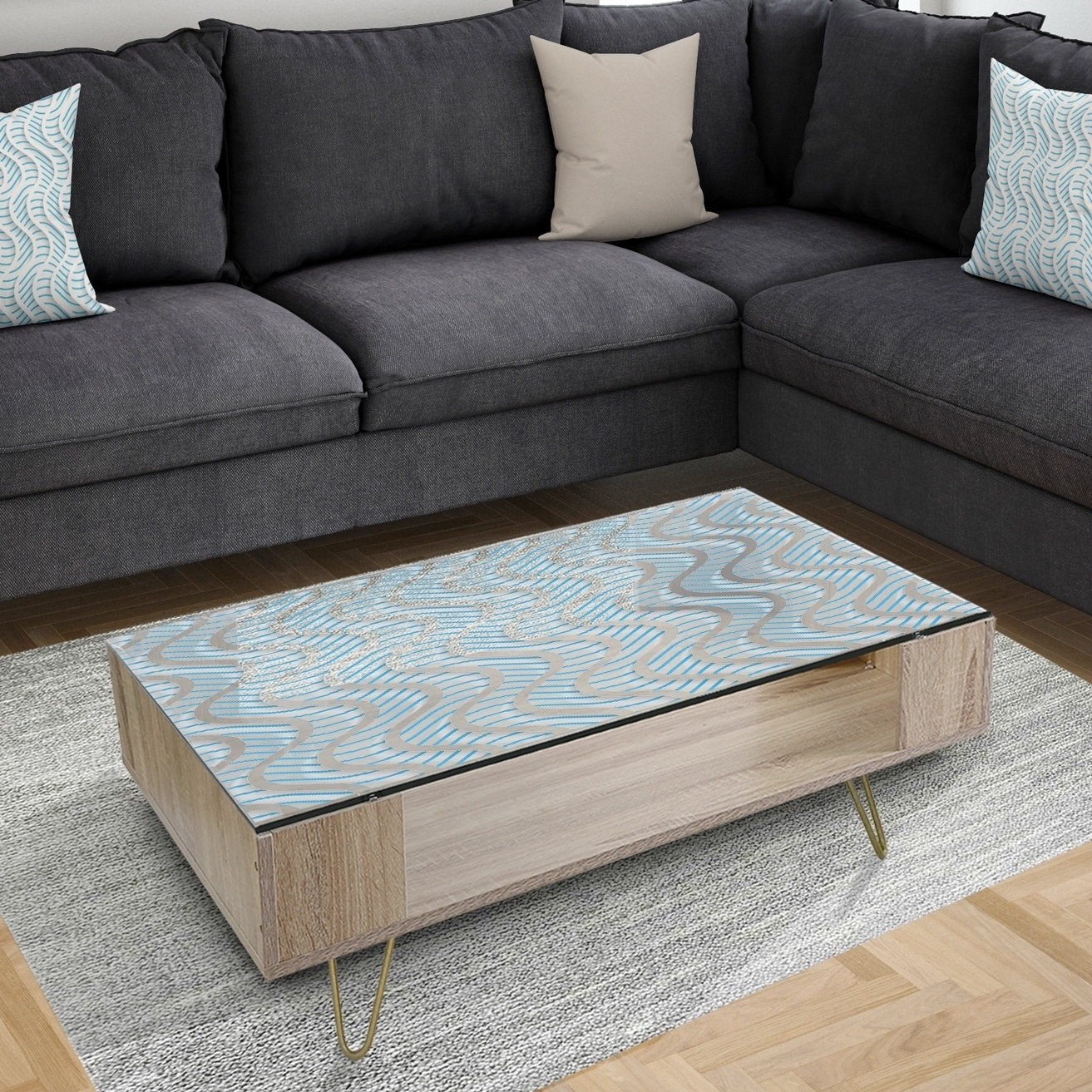 designart 3d white and light blue pattern ii glam coffee table