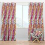 Designart Retro Floral Pattern Iii Mid Century Modern Curtain Panels