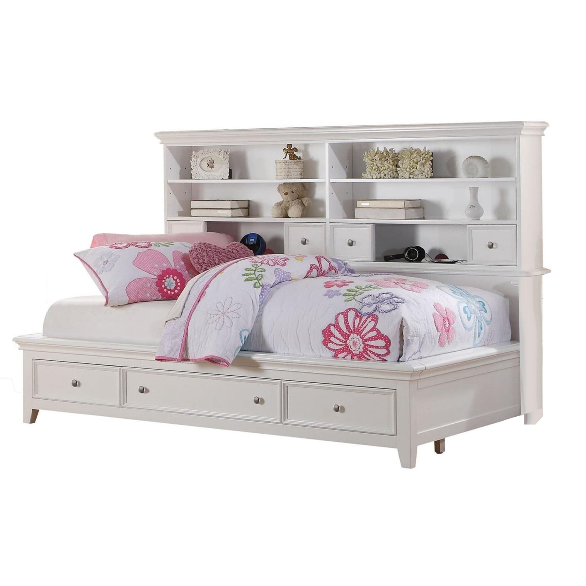 contemporary style twin size bed with bookcase headboard and multiple storage white
