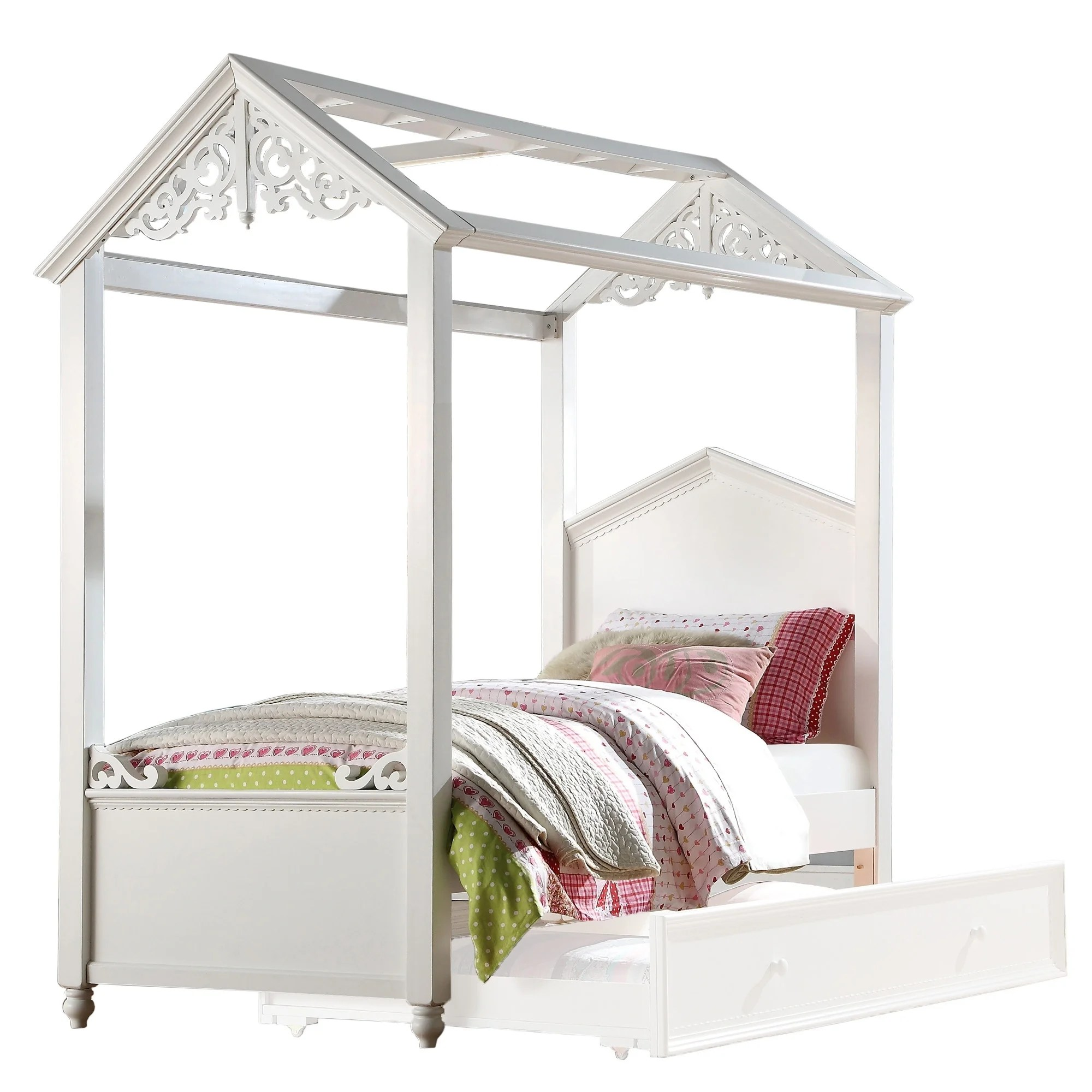Cottage Design Twin Size Wooden Canopy Bed With Scrolled Motif White On Sale Overstock 29714205