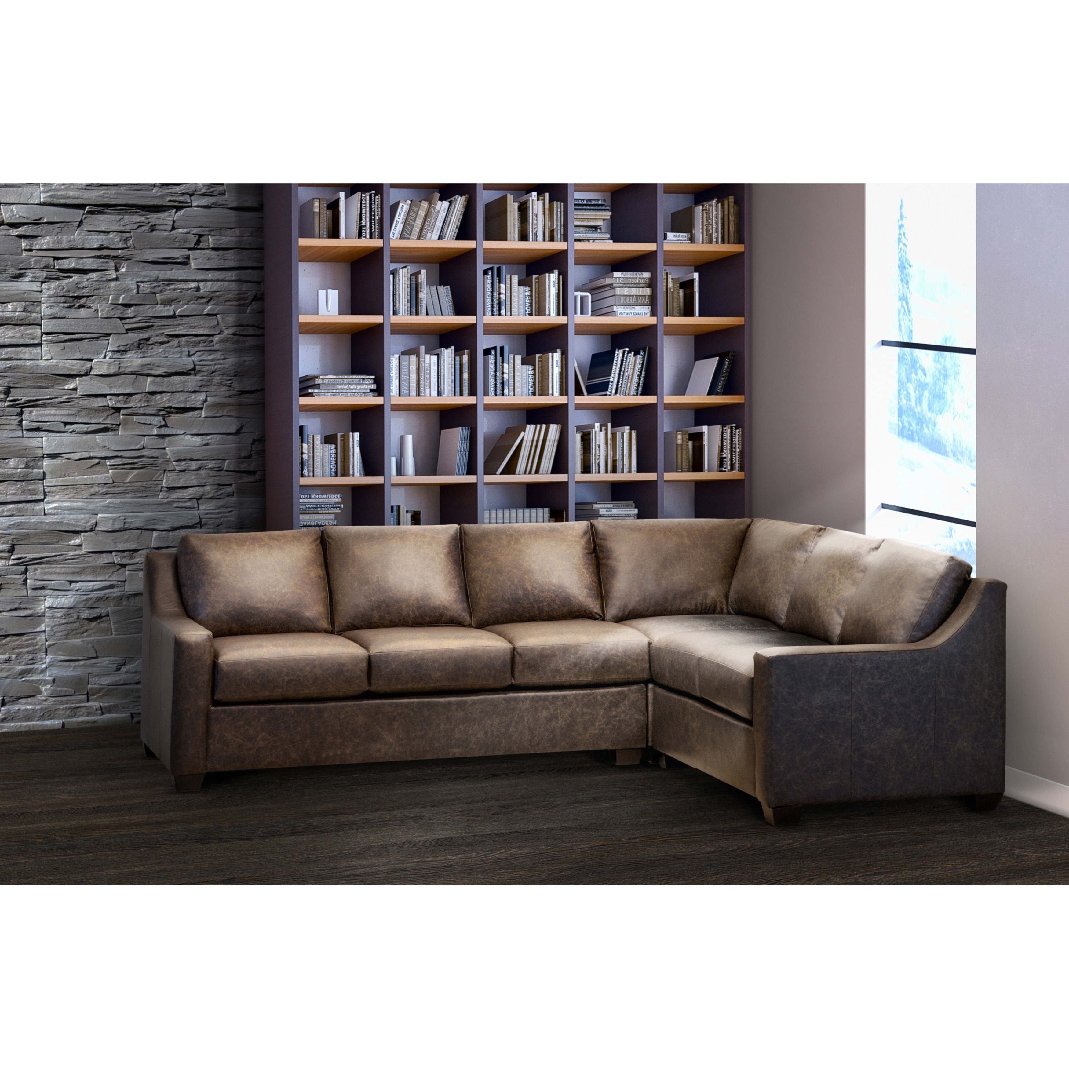 made in usa sandler distressed brown top grain leather sectional sofa