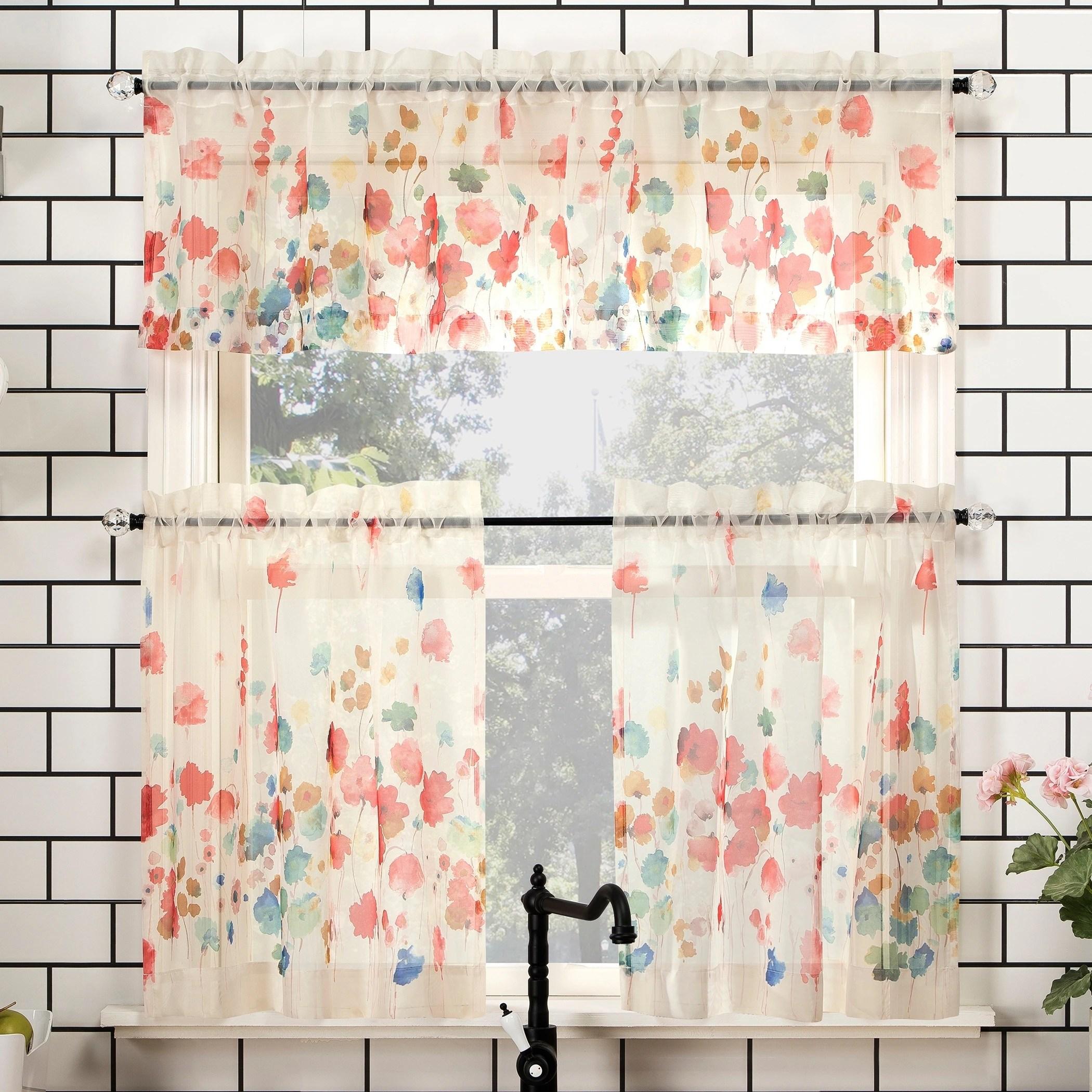 no 918 rosalind floral watercolor semi sheer rod pocket kitchen curtain valance and tiers set