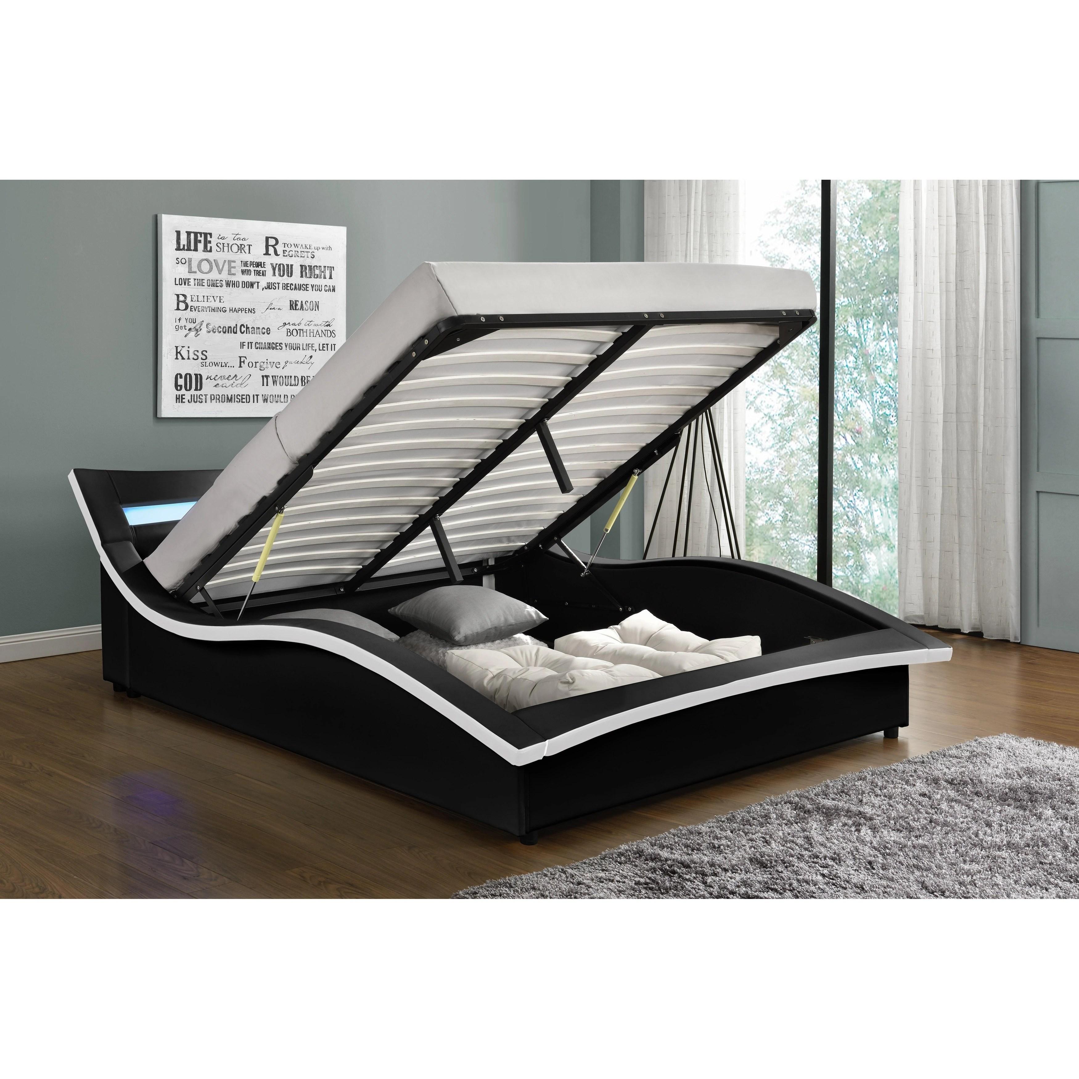 Hayton Upholstered Led Platform Bed Overstock 29913892 California King Black White