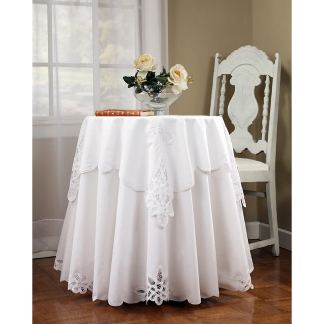 Battenburg 70 Inch Round Tablecloth And Topper Set Free