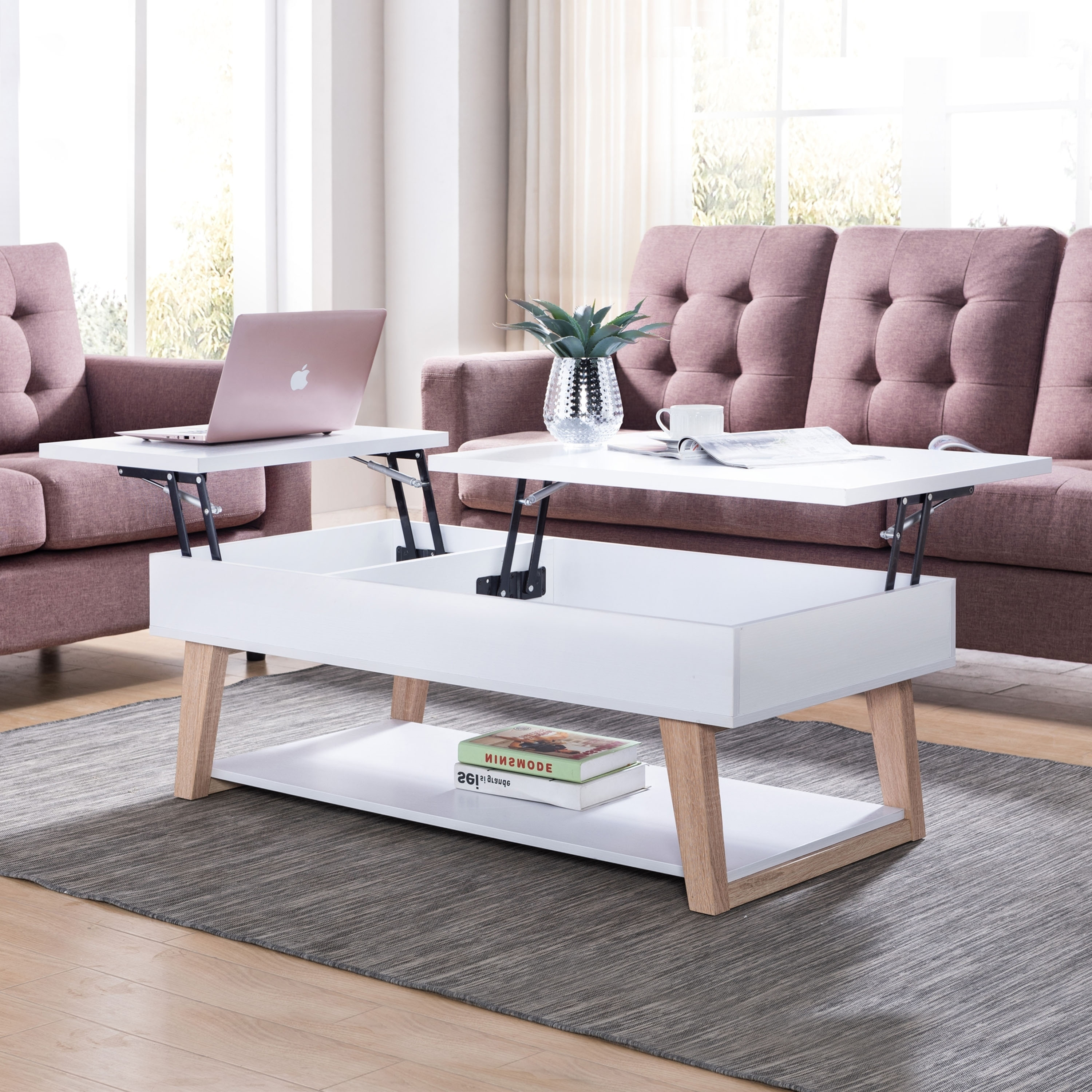 furniture of america willen white contemporary lift top coffee table