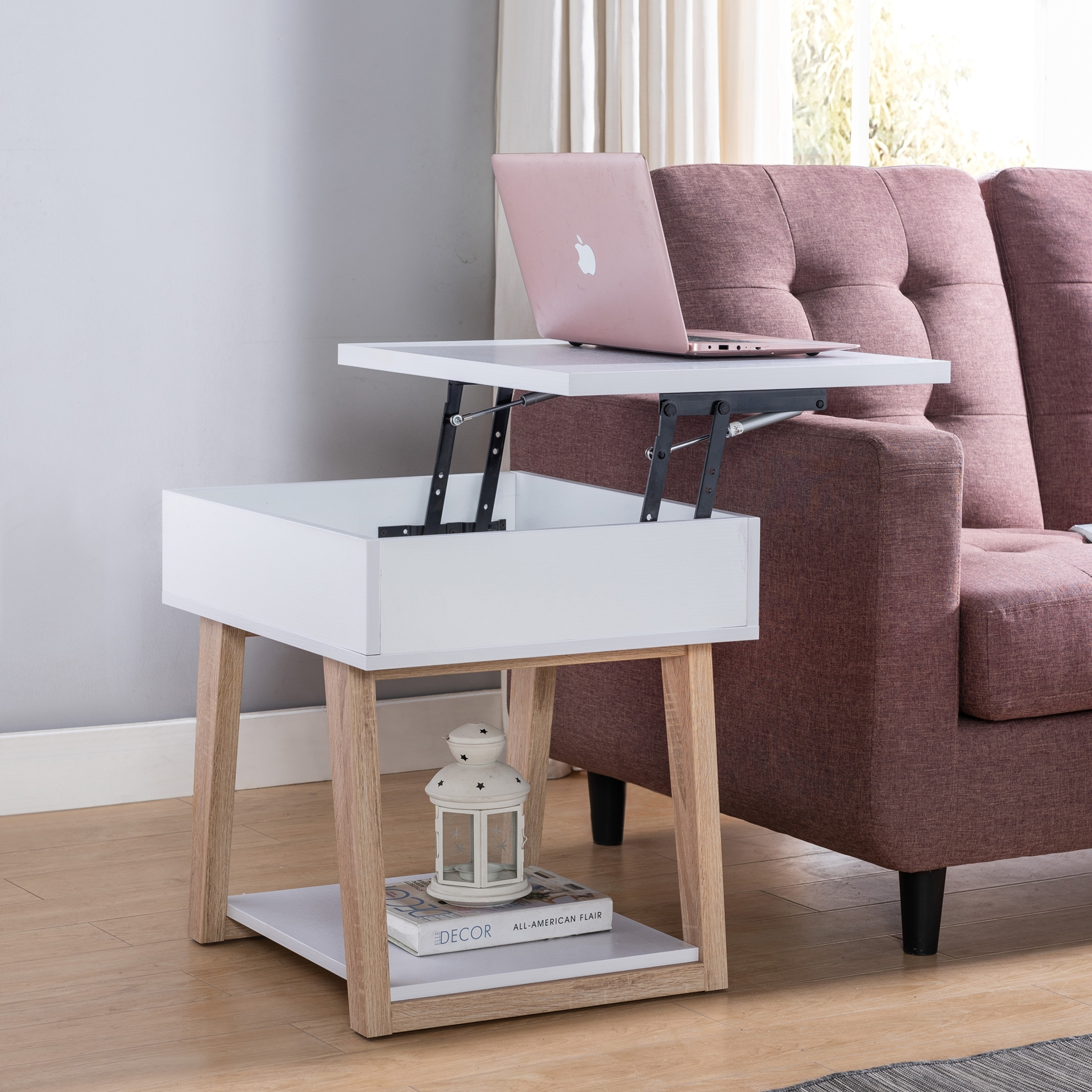 furniture of america willen white contemporary lift top end table