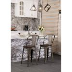 Shop Black Friday Deals On Andeworld High Back Industrial Indoor Outdoor Bar Chairs Metal Bar Stools With Wooden Seat Set Of 4 30 Inch On Sale Overstock 30060861 Black
