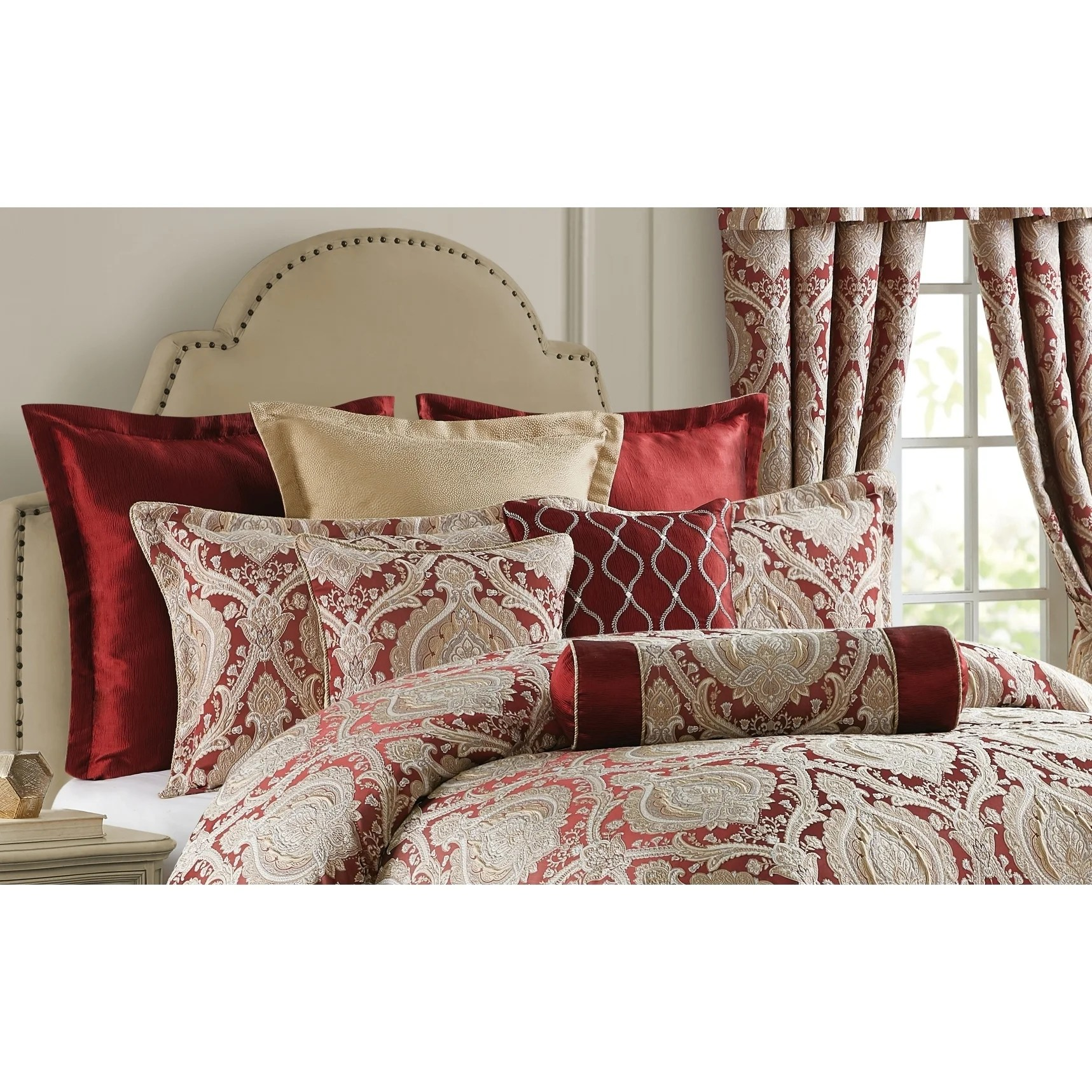 norwich wine burgundy damask comforter set