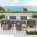 Lono Outdoor Modern 8 Seater Acacia Wood Sectional Sofa Set With Fire Pit And Tank Holder By Christopher Knight Home Overstock 30097344