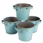4 Set Galvanized Planter Garden Buckets With Handles For Planting Decoration Overstock 30114776