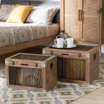 Clement Rustic Transitional Oak Finished 2 Piece Storage Trunk Set Overstock 30119456