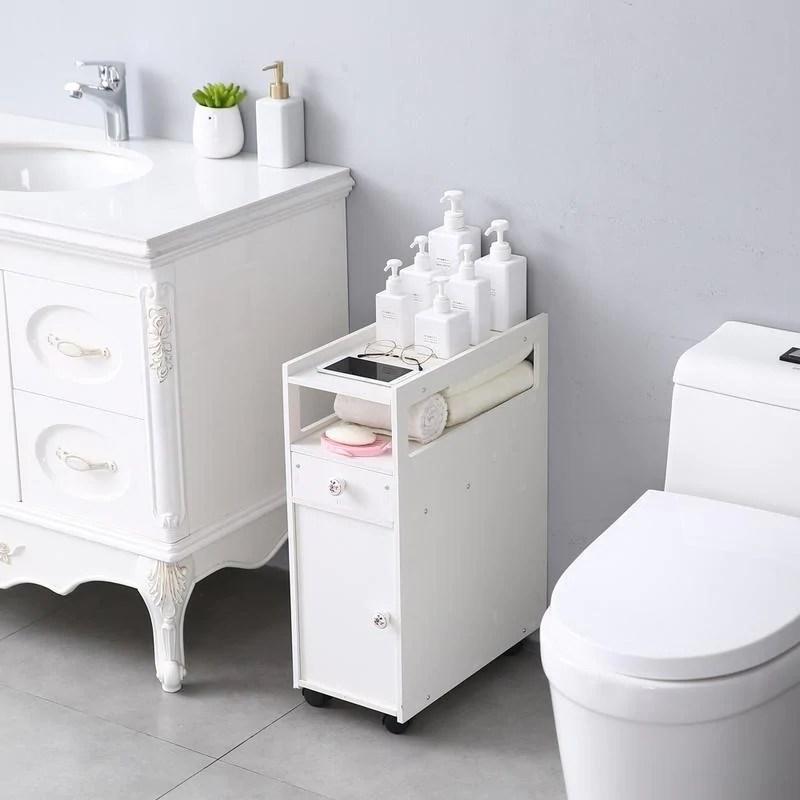 Shop Small Bathroom Storage Thin Toilet Vanity Cabinet Narrow Bath Sink Organizer Towel Storage Shelf Overstock 30140012