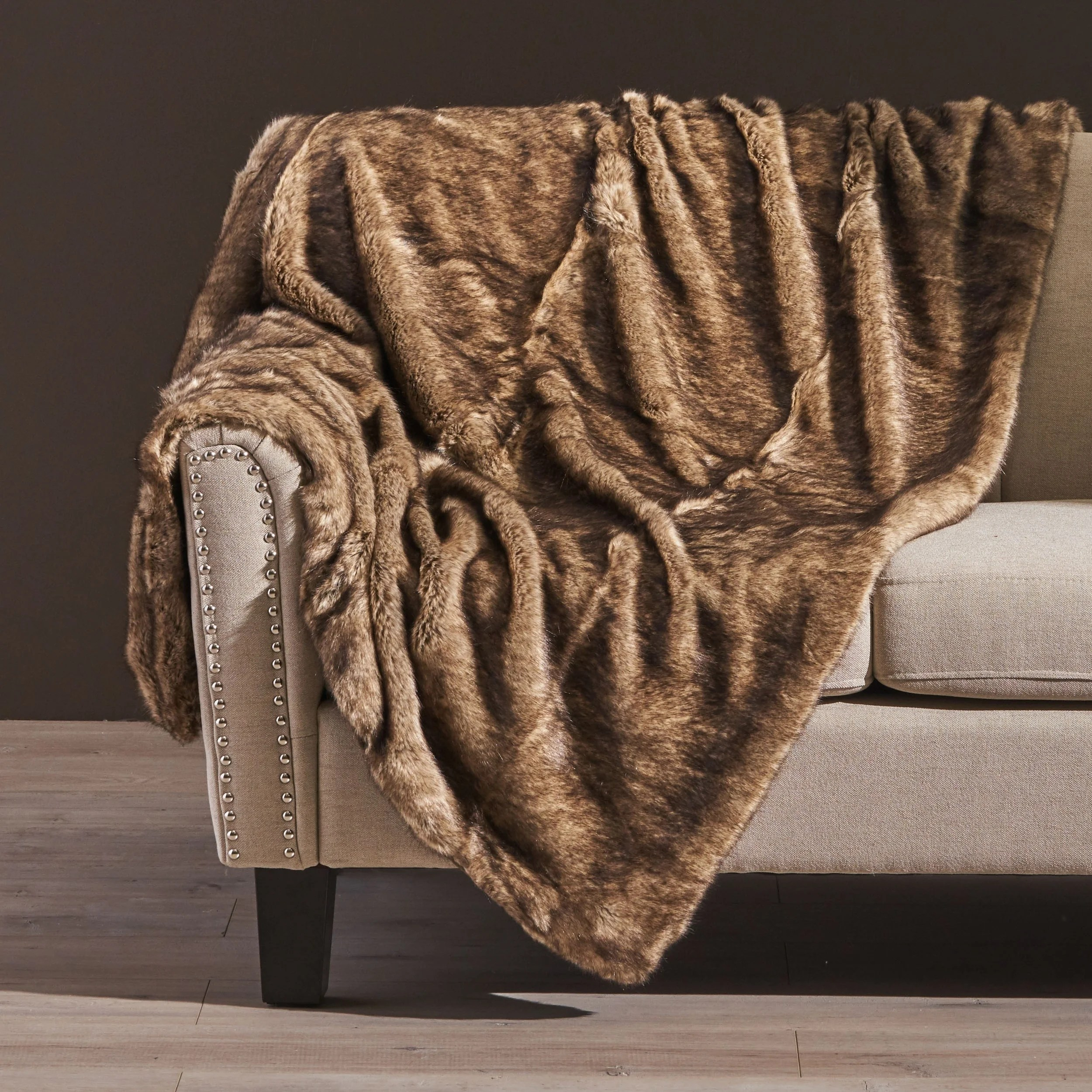 Toscana Faux Fur Throw Blanket in New Black by Christopher Knight Home (As Is Item)