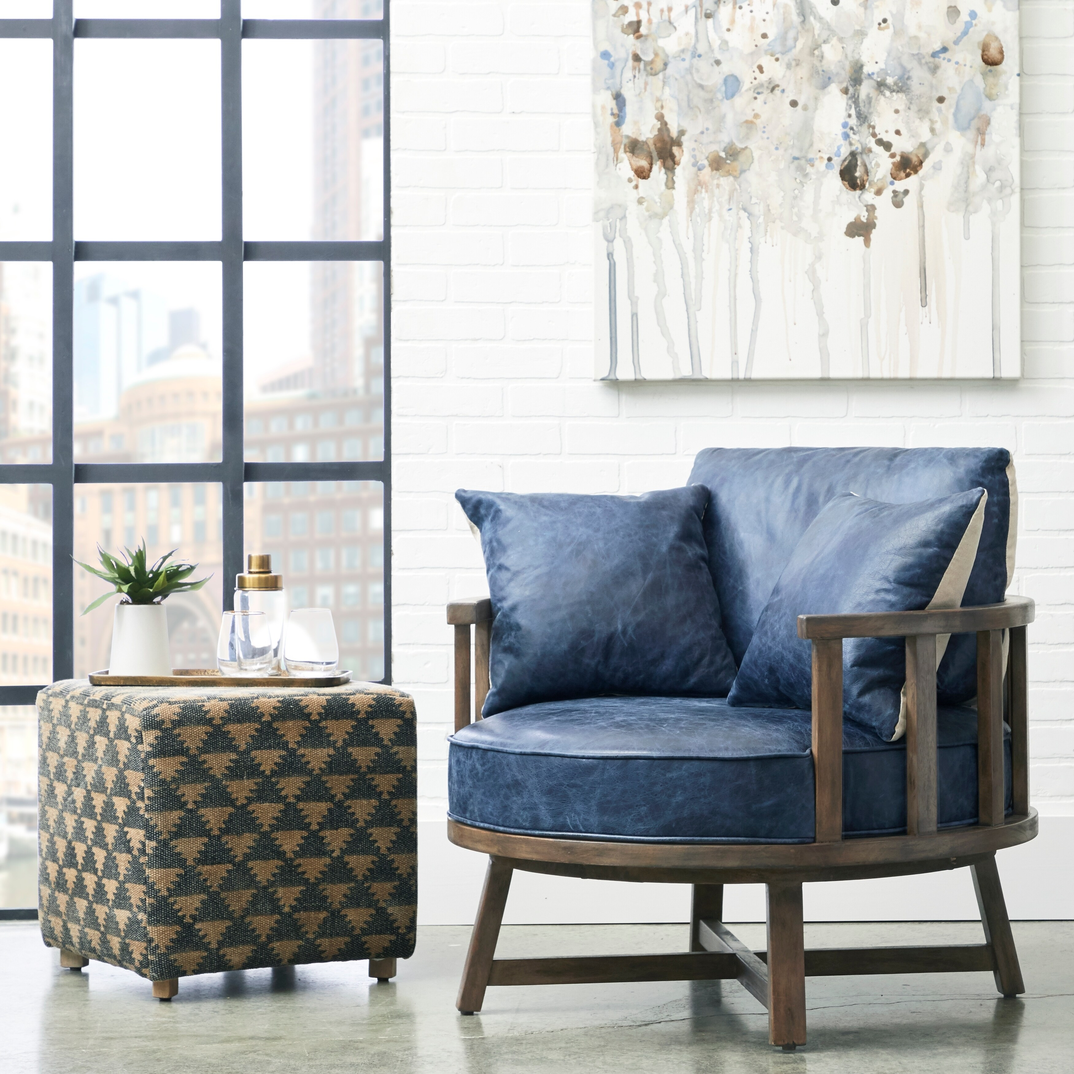 navy blue leather swivel club chair with wood base