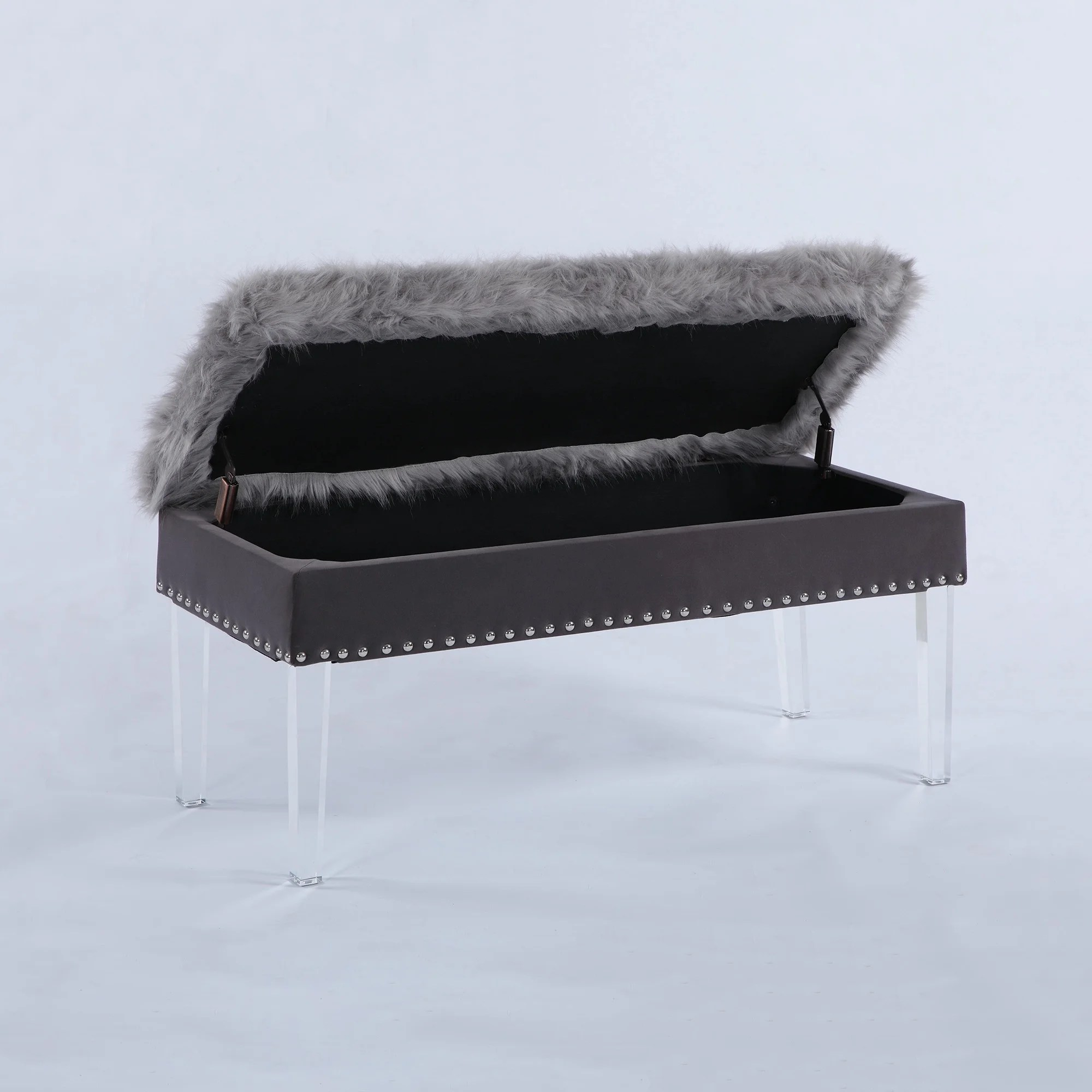 20 inch horice faux fur nailhead storage bench with acrylic leg in white as is item