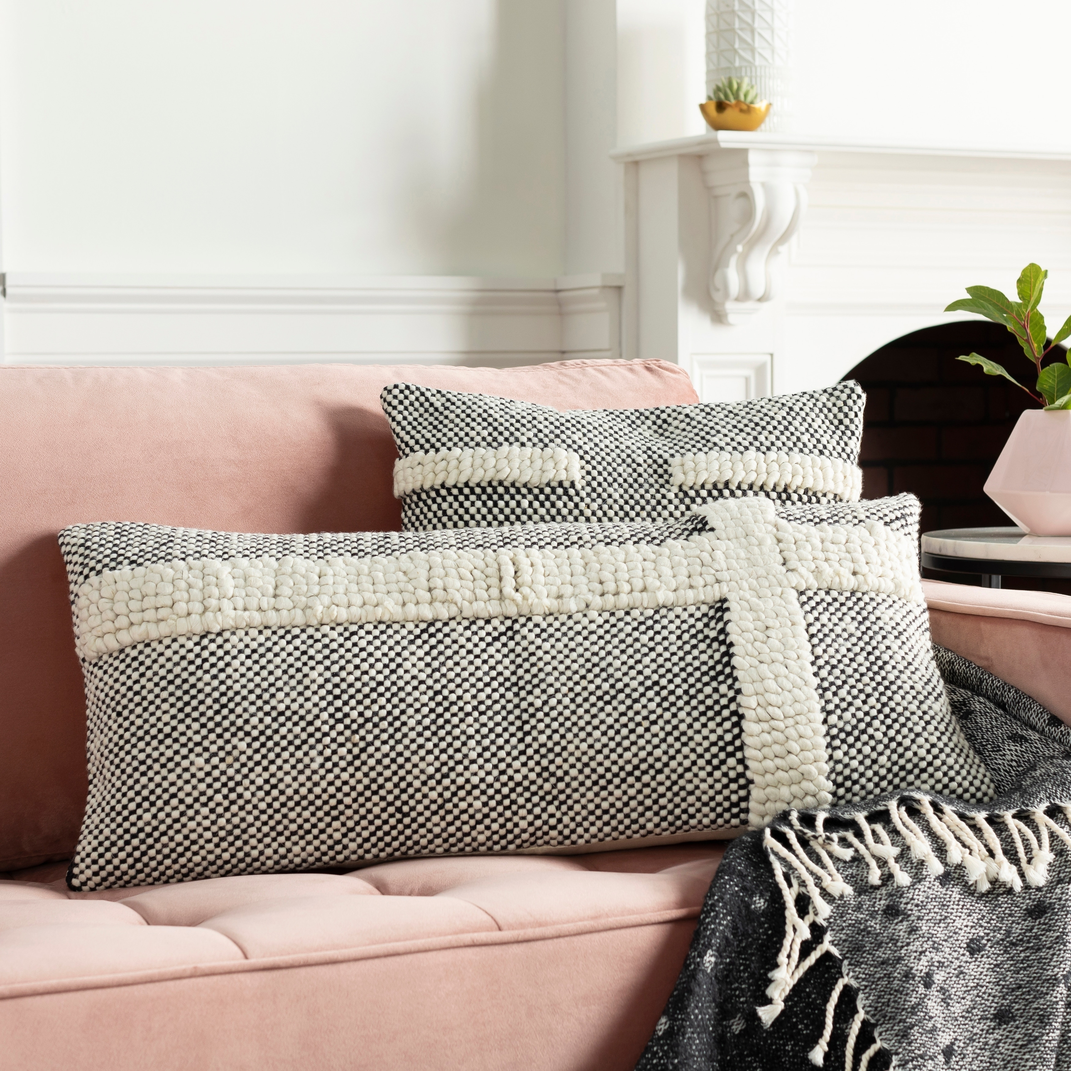 hadrea handwoven black white boho 14x32 inch lumbar throw pillow