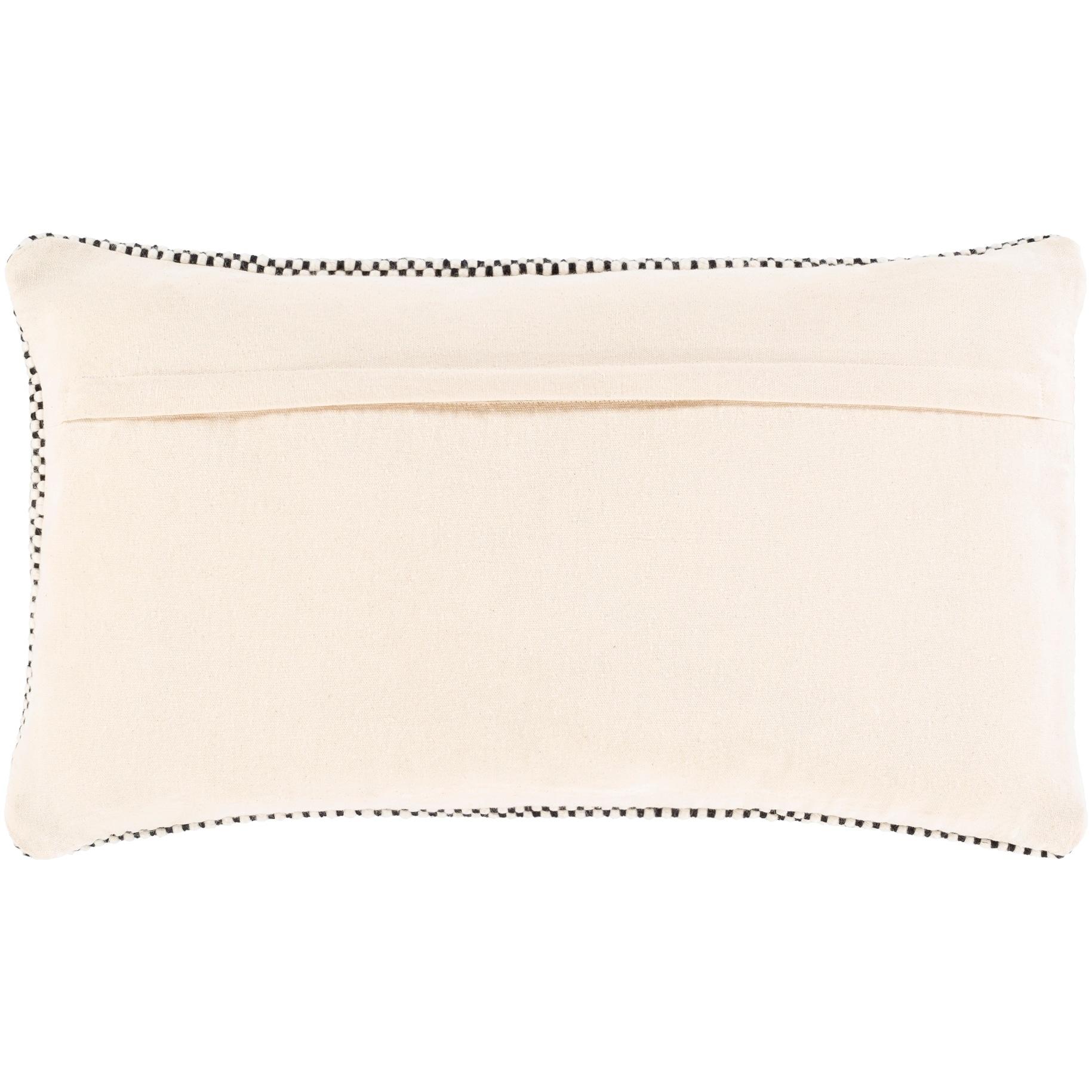 hadrea handwoven black white boho 14x24 inch lumbar throw pillow