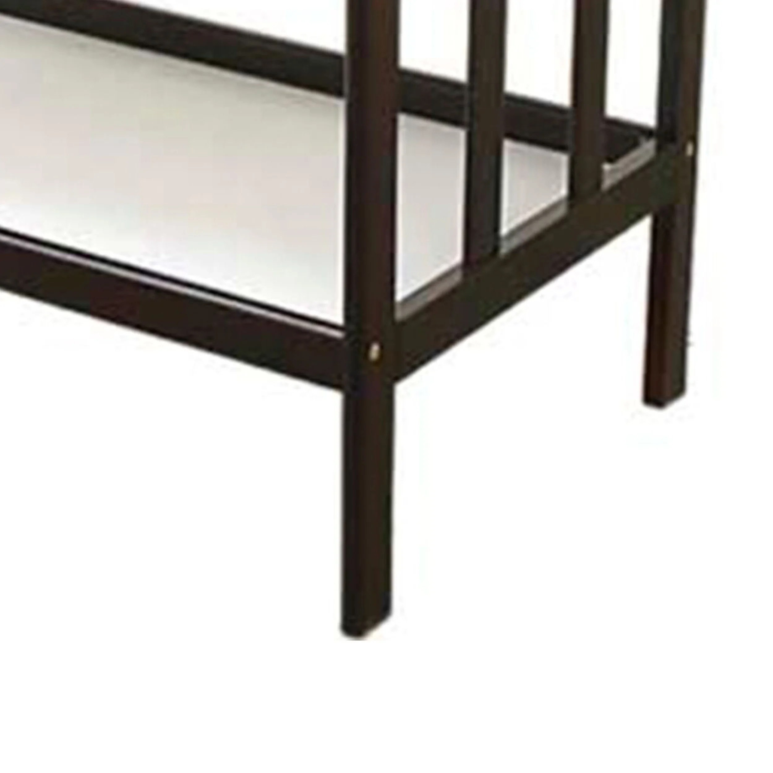 wooden changing table with 2 shelves and slatted sides cherry brown