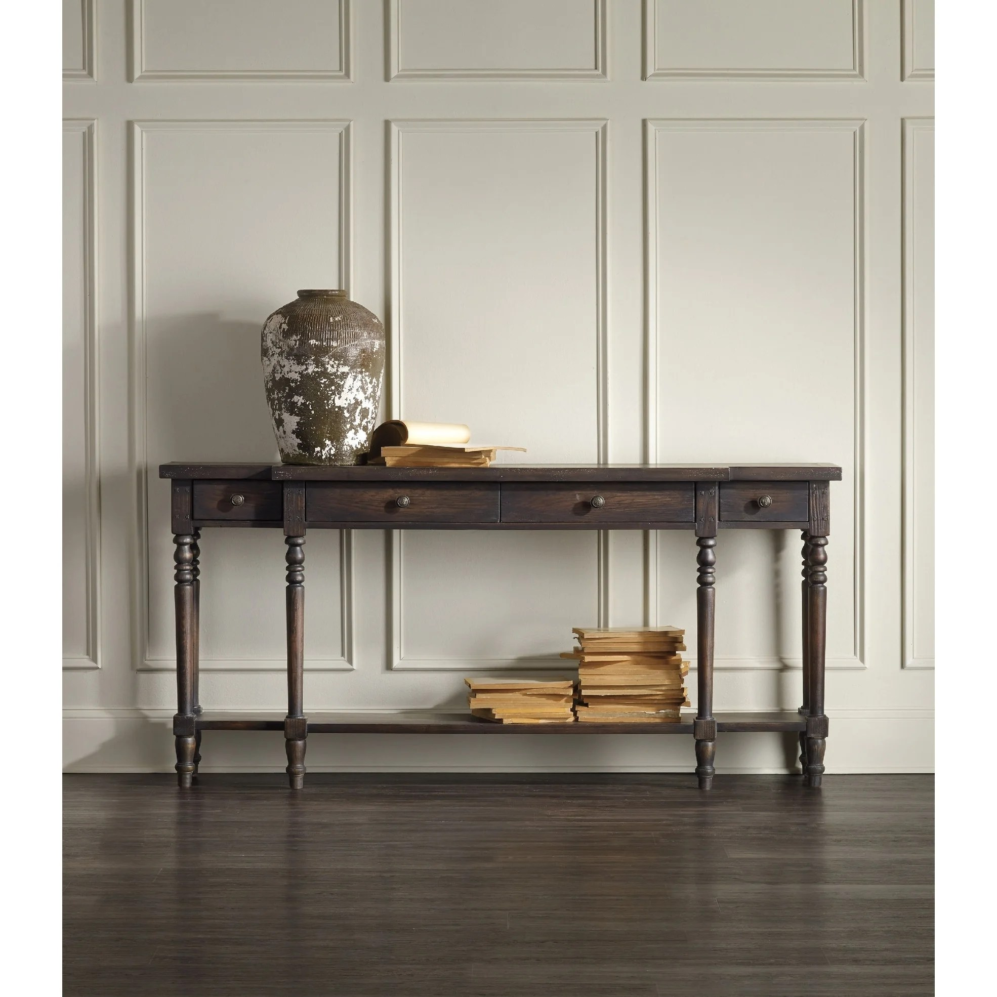 Shop Dark Wood 4 Drawer And 1 Shelf Console Table On Sale Overstock 30434059