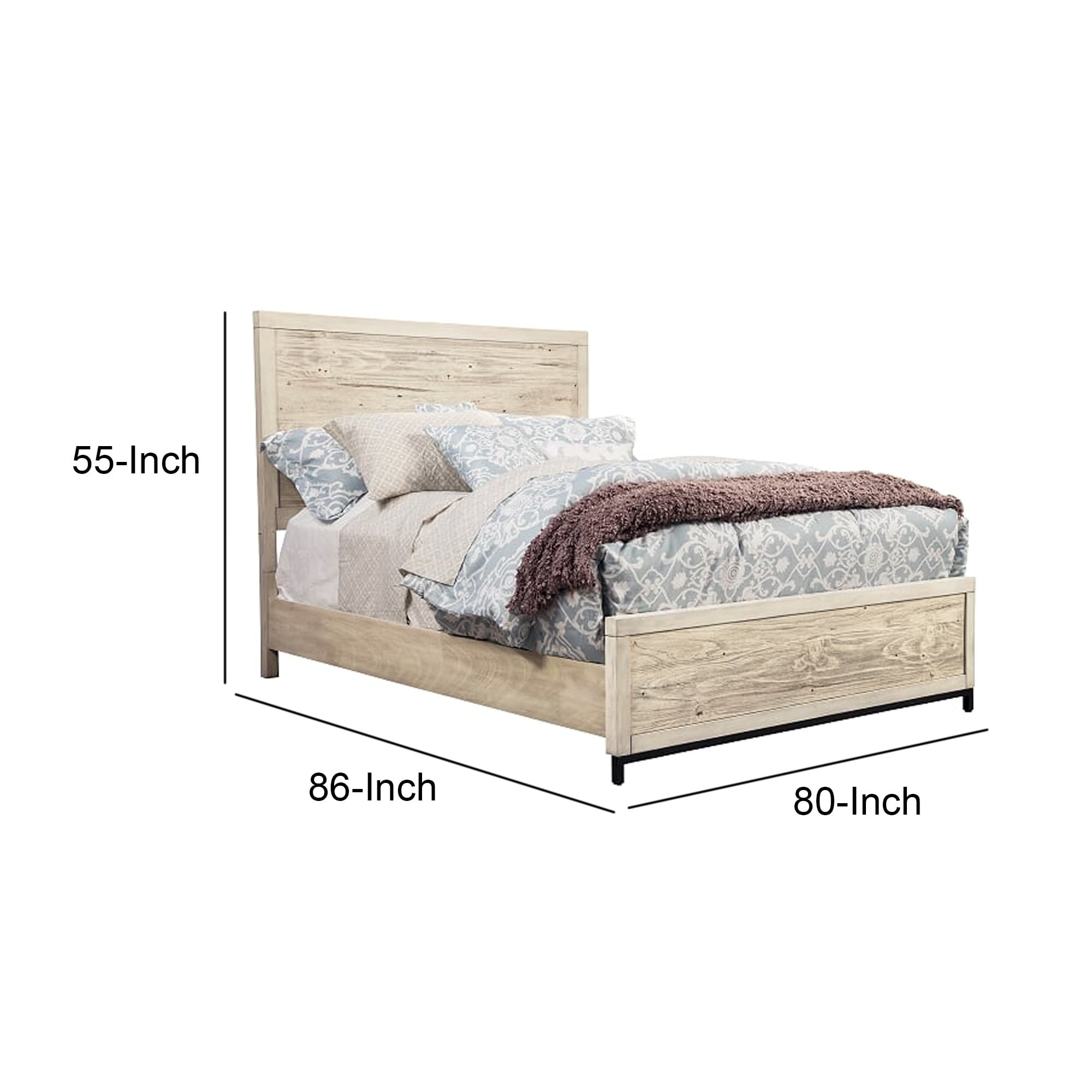 transitional standard king bed with high headboard distressed white