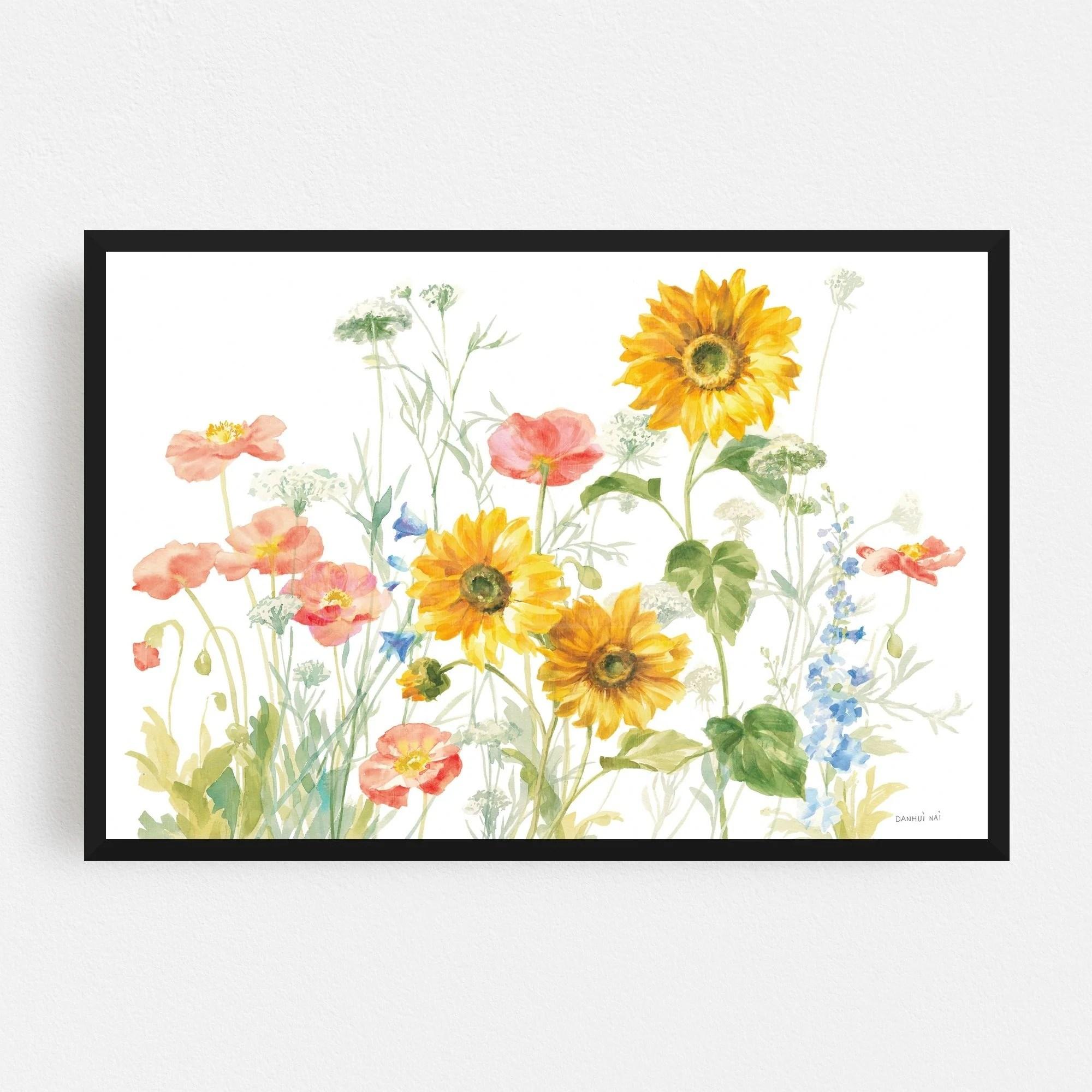 Noir Gallery Rural Floral Delphinium Daisy Queen Framed Art Print