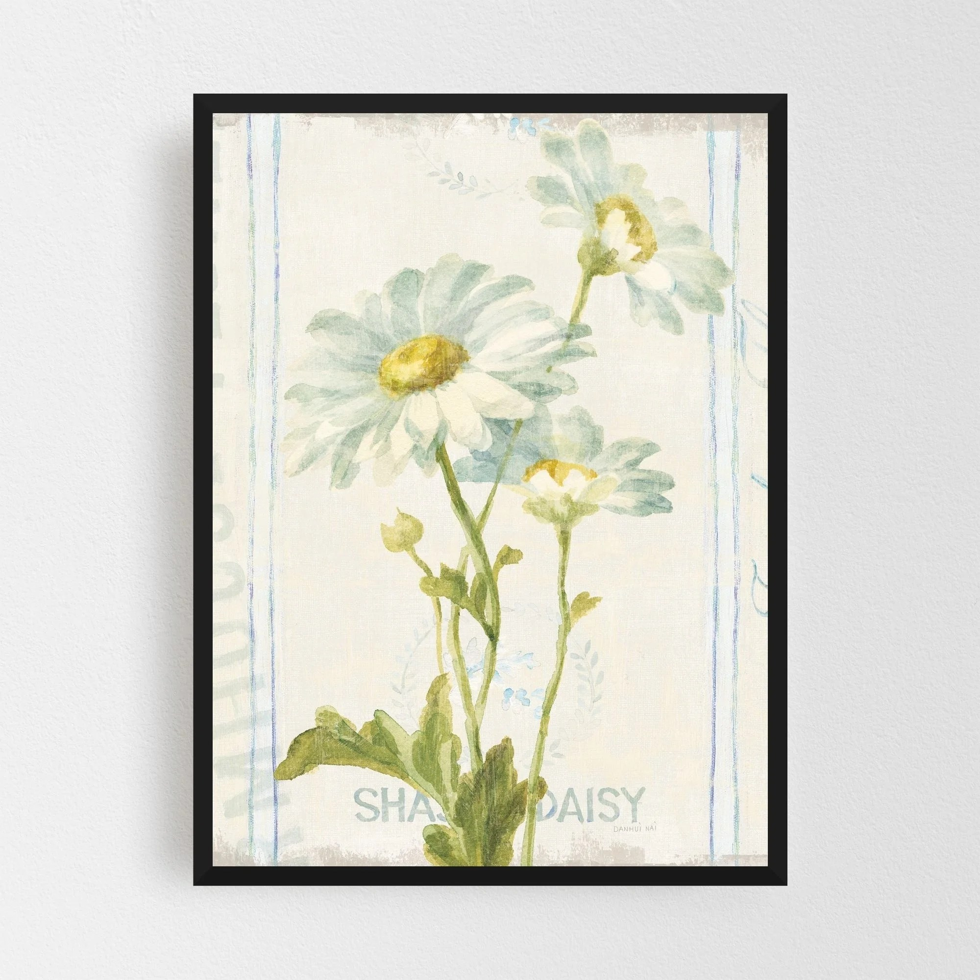 Noir Gallery Rural Floral Daisy Typography Framed Art Print