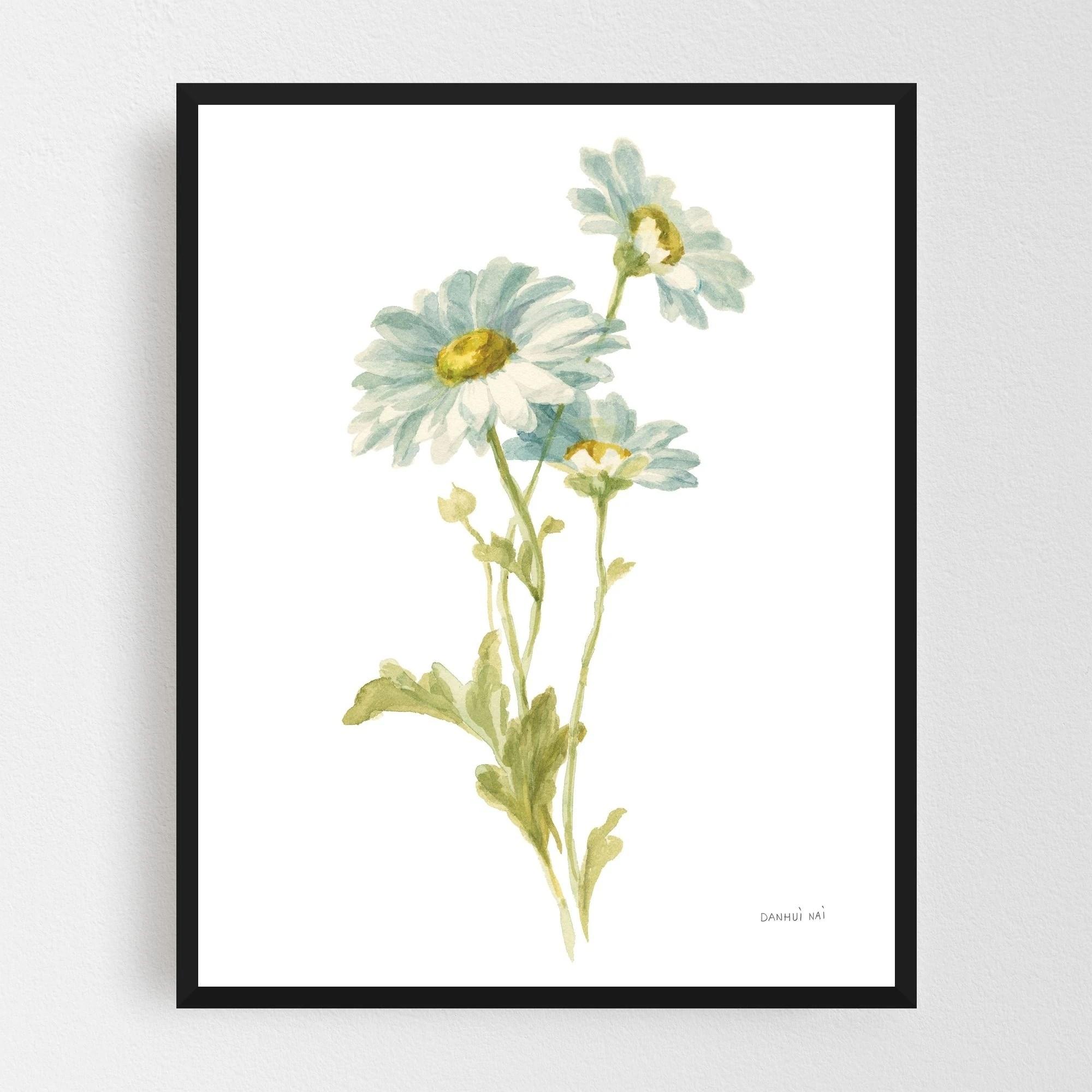 Noir Gallery Watercolor Rural Floral Daisy Framed Art Print
