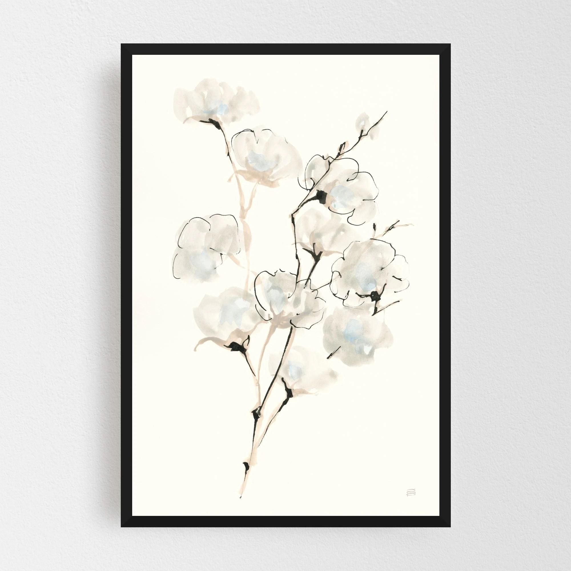 Noir Gallery Minimal Rural Floral Illustration Framed Art Print