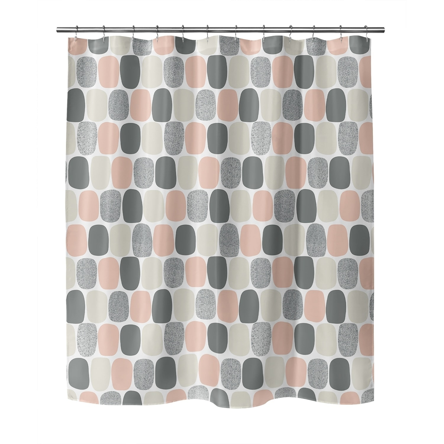 mid century ovals pink shower curtain by kavka designs