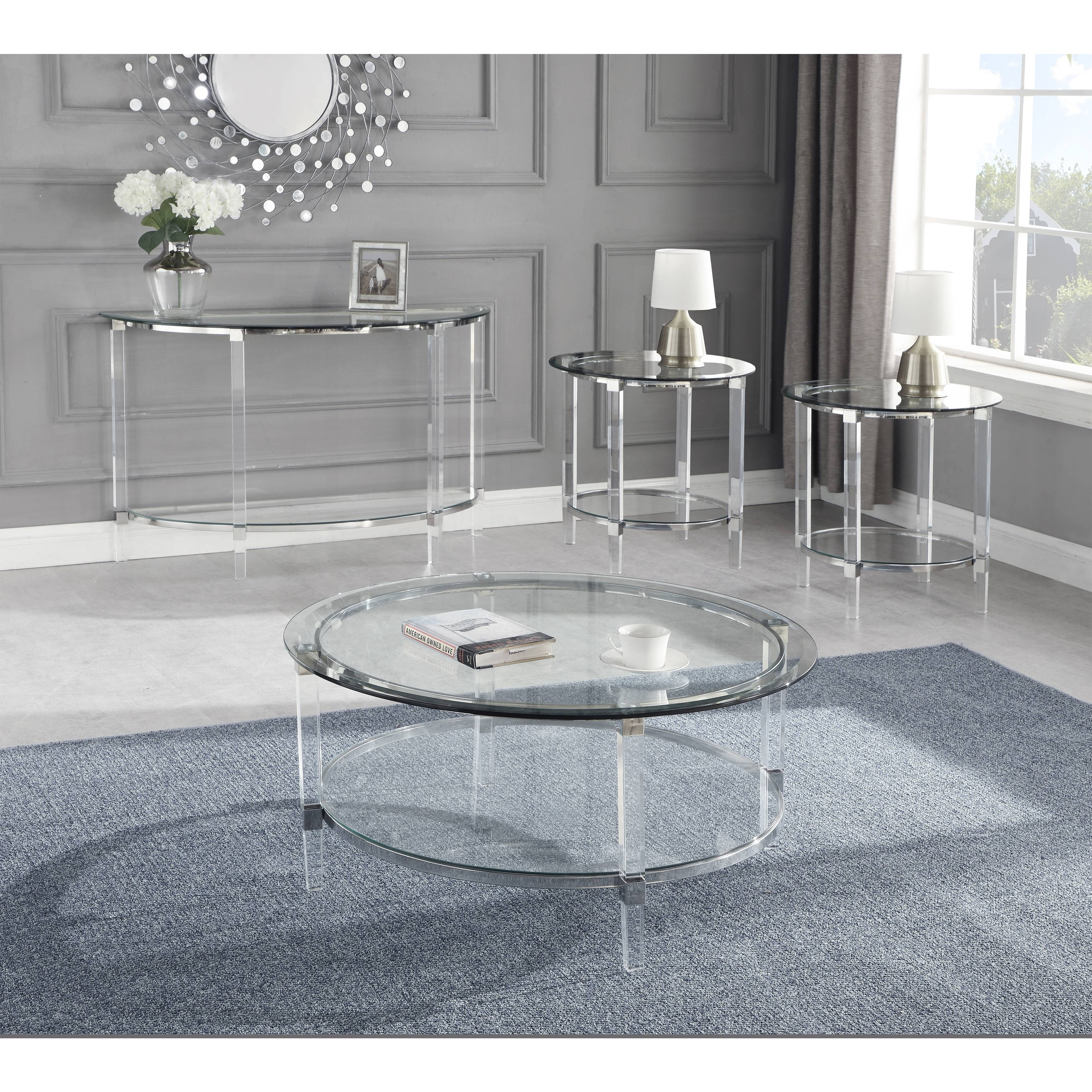 best quality furniture 4 piece coffee table set special glass top acrylic legs coffee table 2 end tables console table