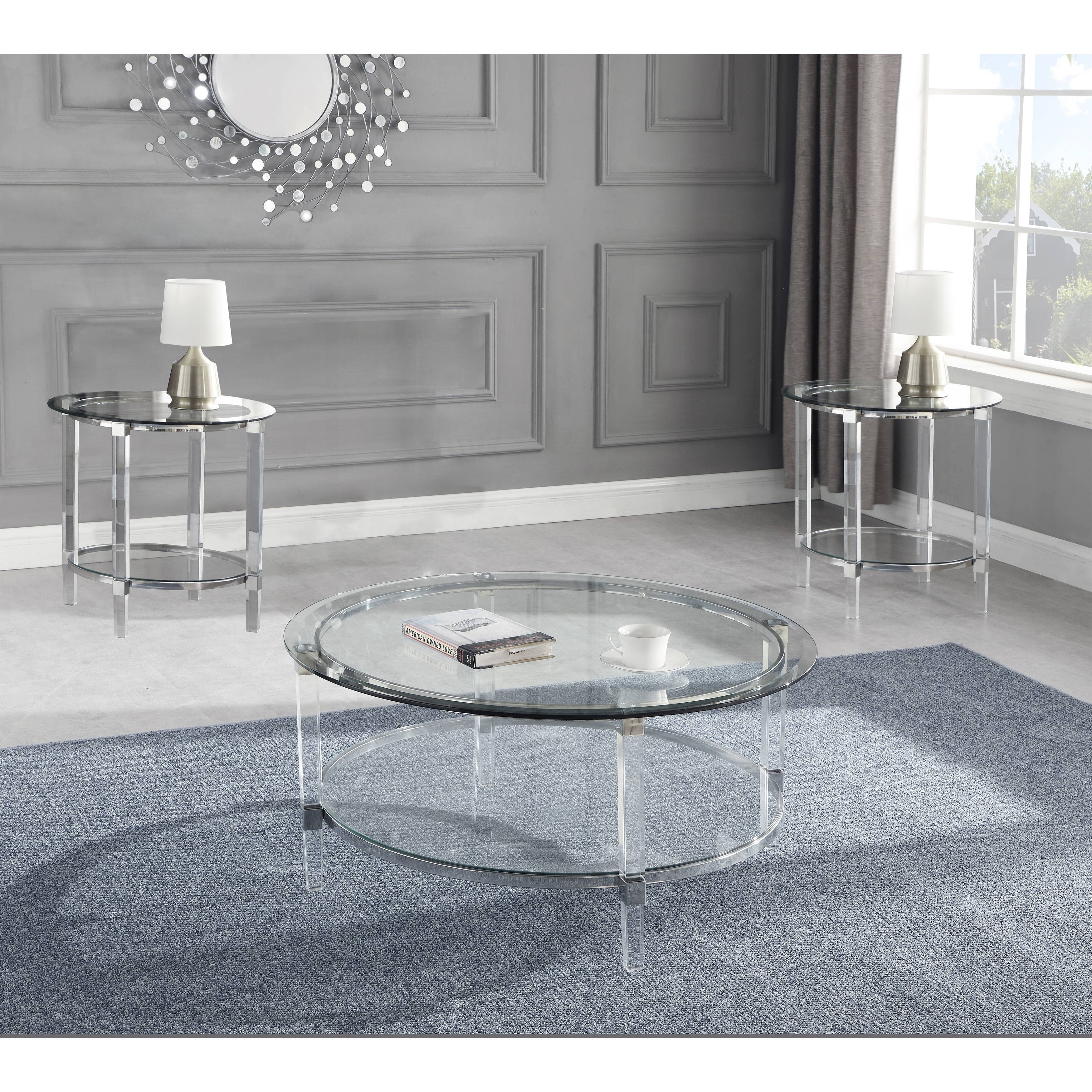best quality furniture 3pccoffee table set glass top and acrylic legs coffee table 2 end tables