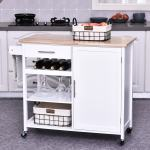 Homcom Rolling Kitchen Island Cart With Large Countertop Display Wine Rack Large Storage Cabinet And Towel Bar Overstock 30526527