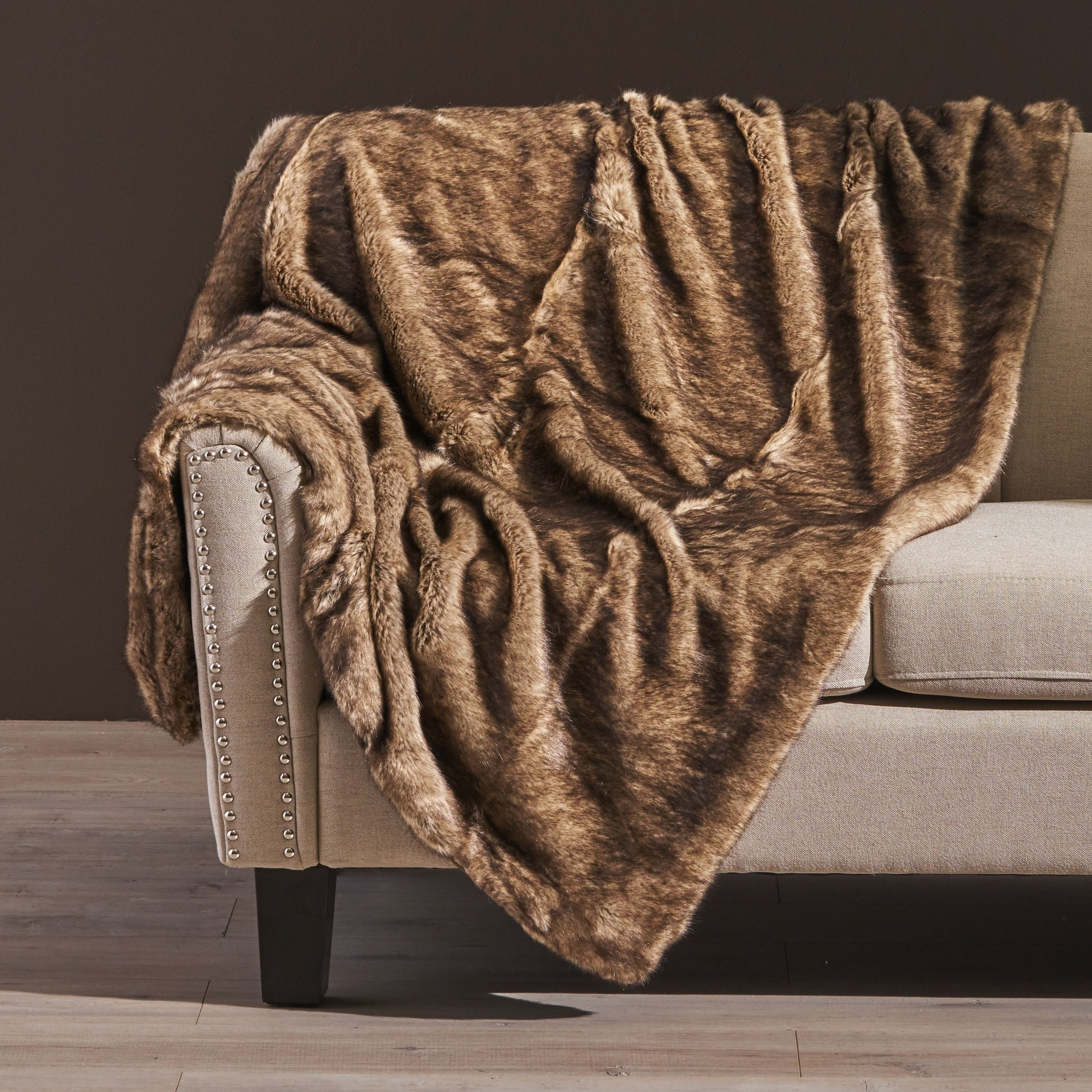 Toscana Faux Fur Throw Blanket by Christopher Knight Home in Shadow (As Is Item)