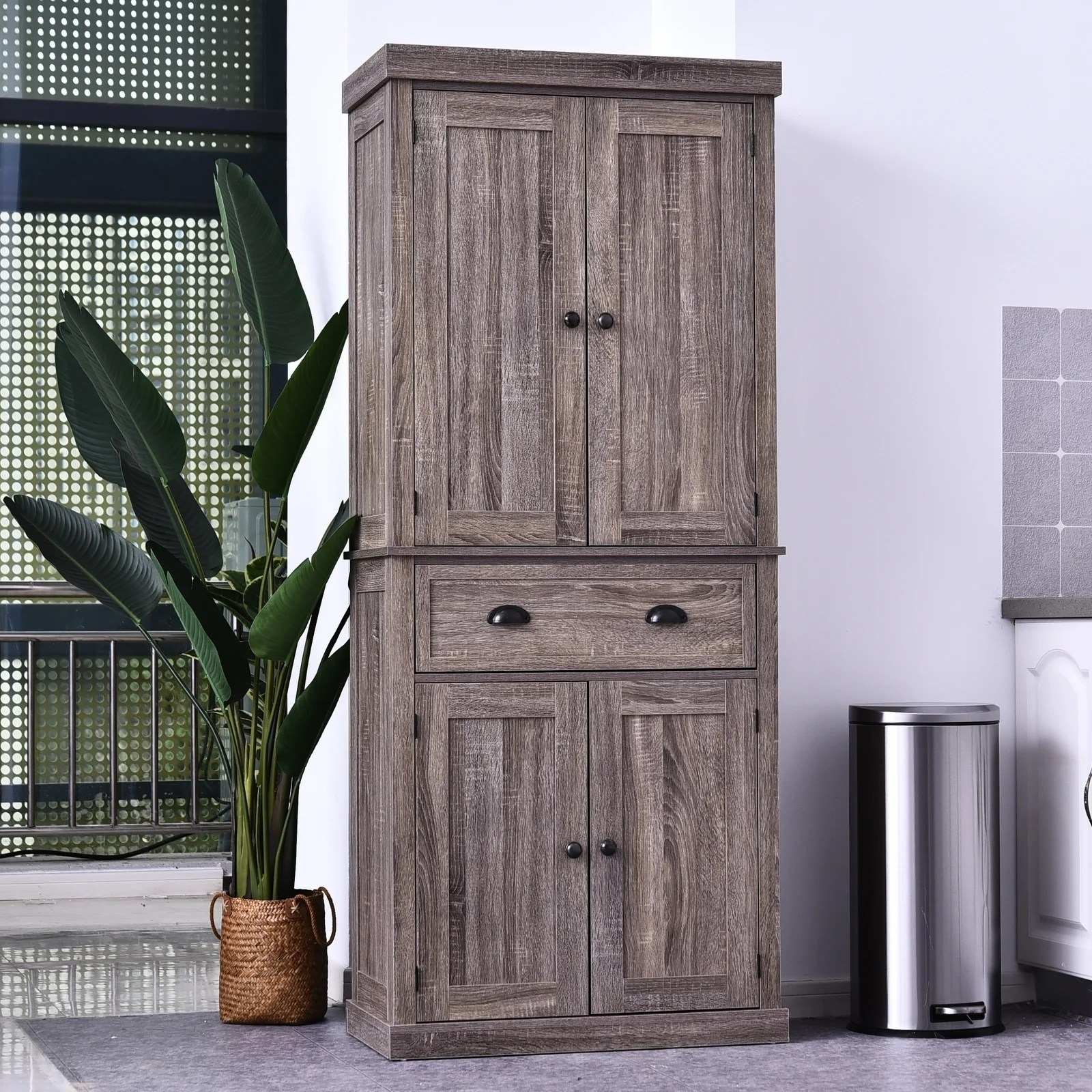 Homcom 72 H Traditional Colonial Freestanding Kitchen Bathroom Storage Pantry With 1 Center Drawer And 2 Cabinets N A Overstock 30570079
