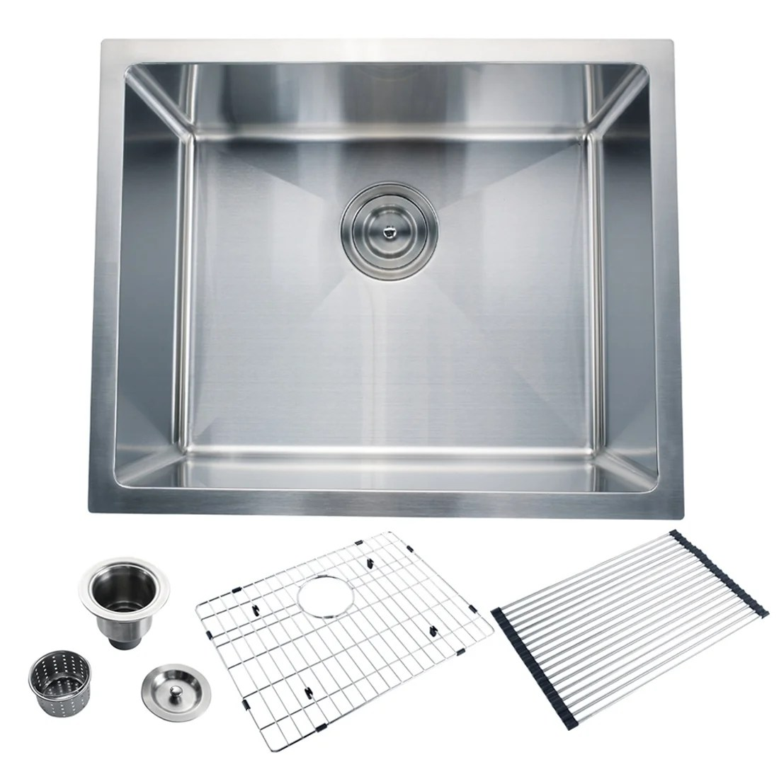 cb home 22 drop in single bowl 16 g stainless steel kitchen sink set