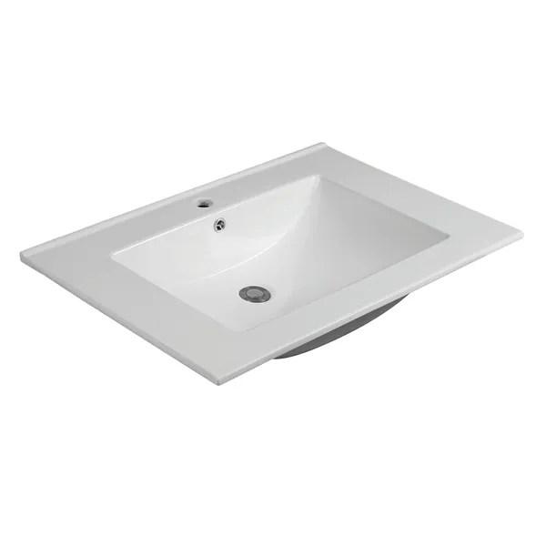 cb home white ceramic 31 inch wide thick edge rectangle bathroom sink