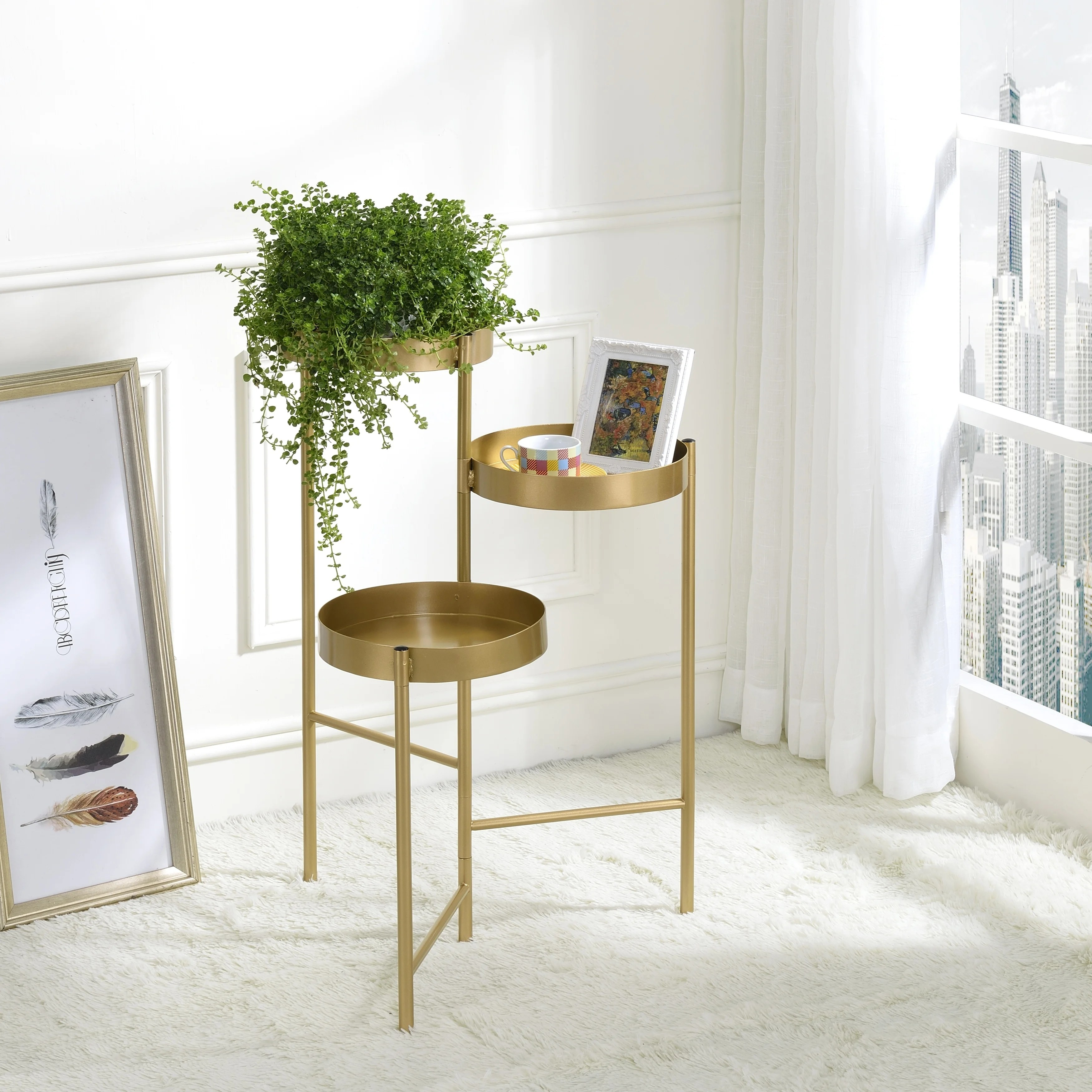 Shop Furniture Of America Caleb Modern Gold 3 Tier Indoor Plant Stand On Sale Overstock 30733563