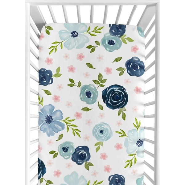 navy blue and pink watercolor floral girl fitted crib sheet blush green and white shabby chic rose flower
