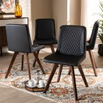 Modern Kitchen Dining Chairs Set Of 4 Micor Suede Fabric Soft Padded Seat Chrome Legs Living Room Furniture Slate Grey Dining Room Furniture Furniture
