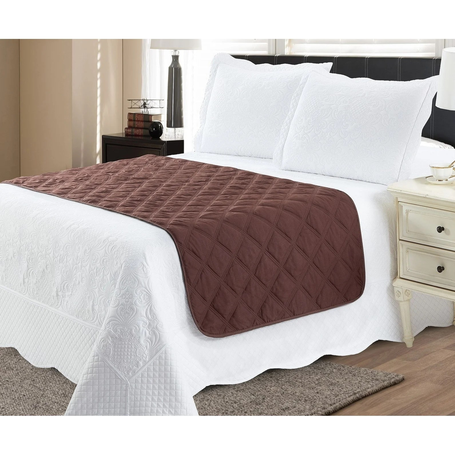 bed runner protector chocolate tan king
