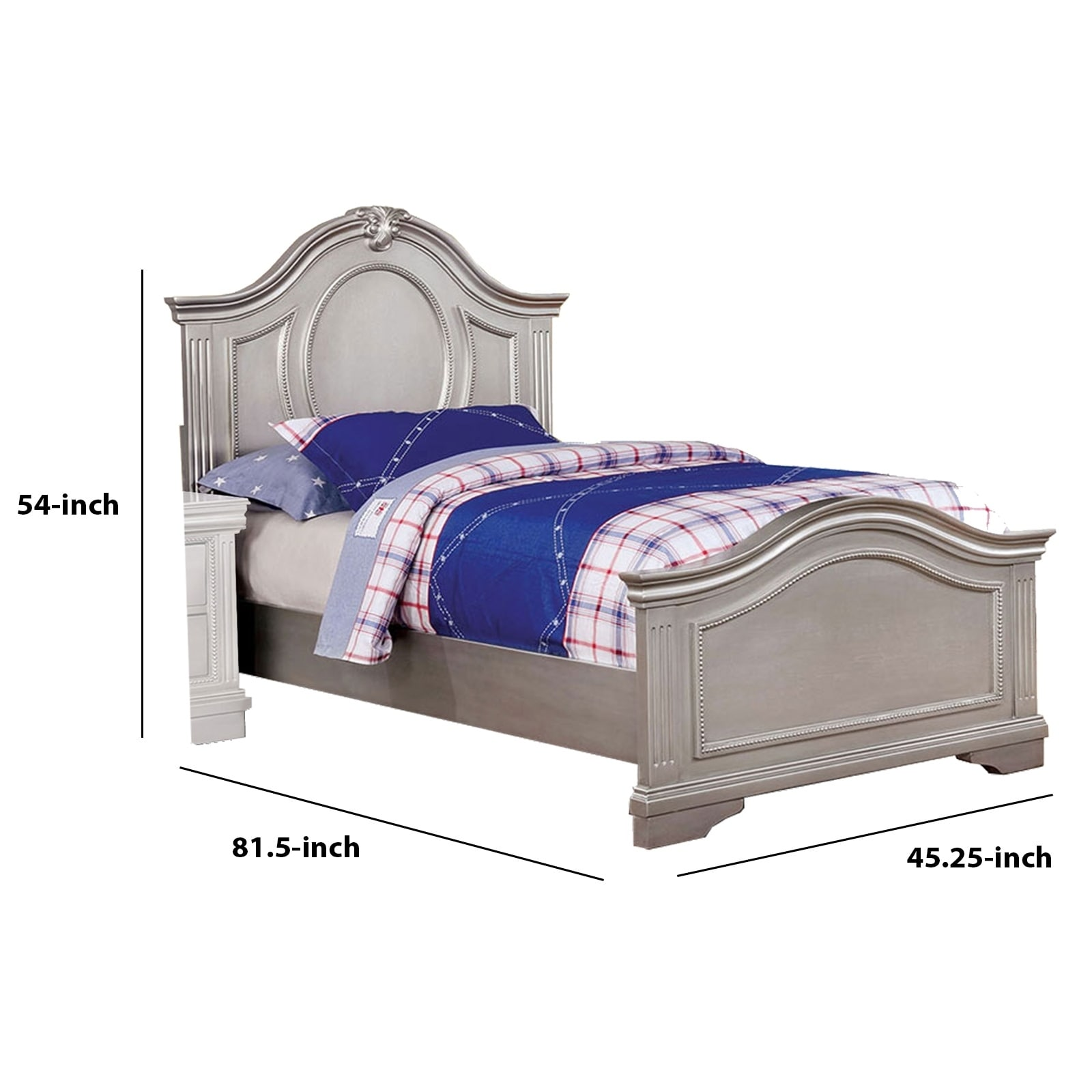 Shop Black Friday Deals On Twin Bed With Camelback Headboard And Footboard Silver On Sale Overstock 30898266