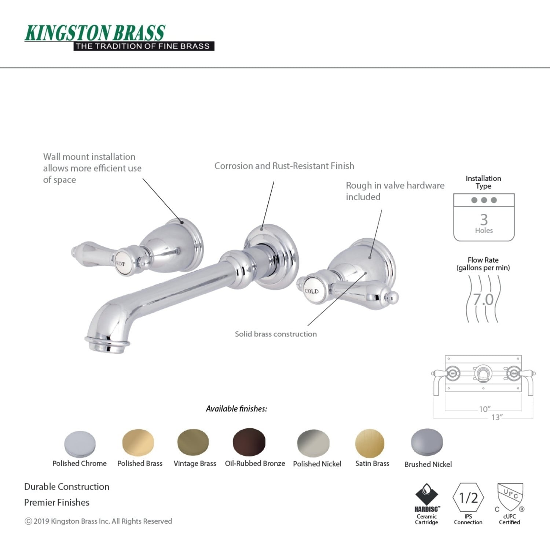 heirloom 2 handle wall mount roman tub faucet