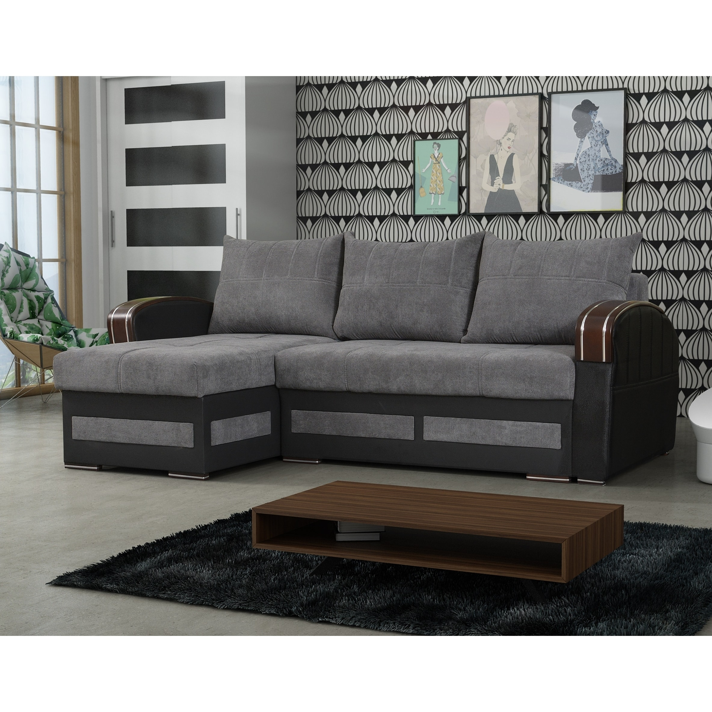 riverhead grey fabric reversible sleeper sectional sofa with storage
